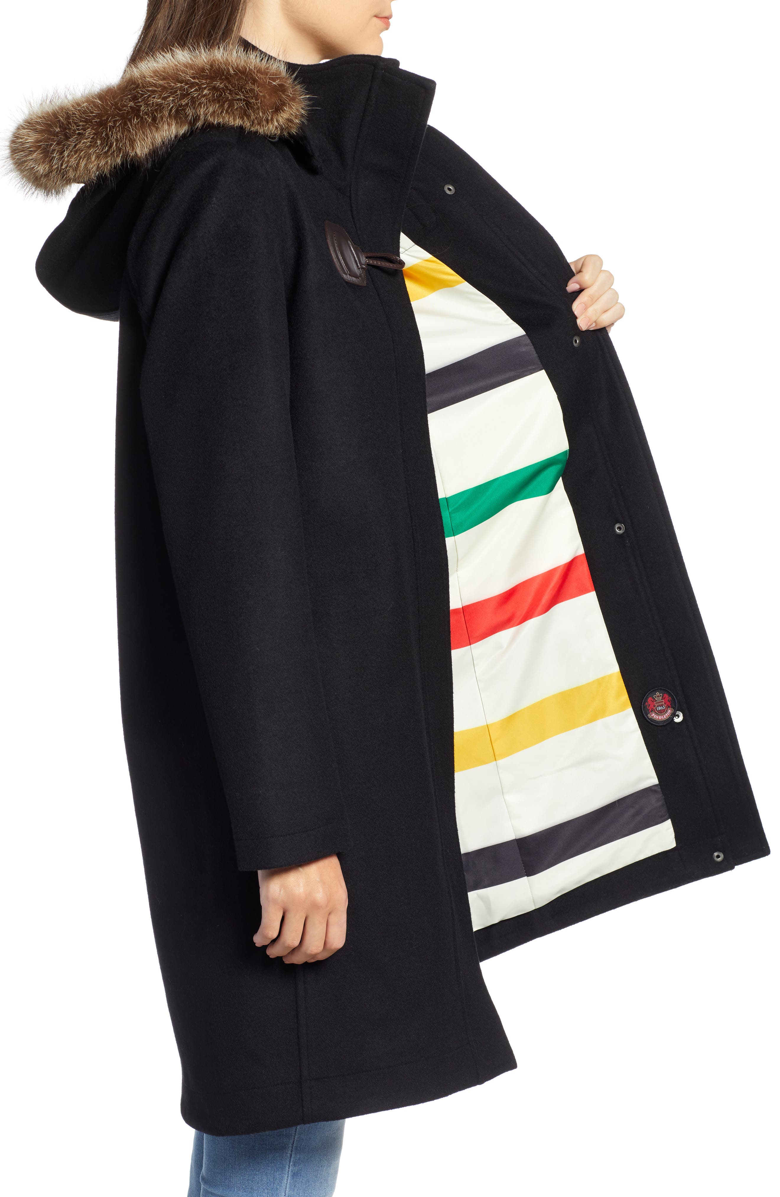 St Marie Wool Hooded Coat with Genuine Raccoon Fur Trim,                             Alternate thumbnail 3, color,                             BLACK