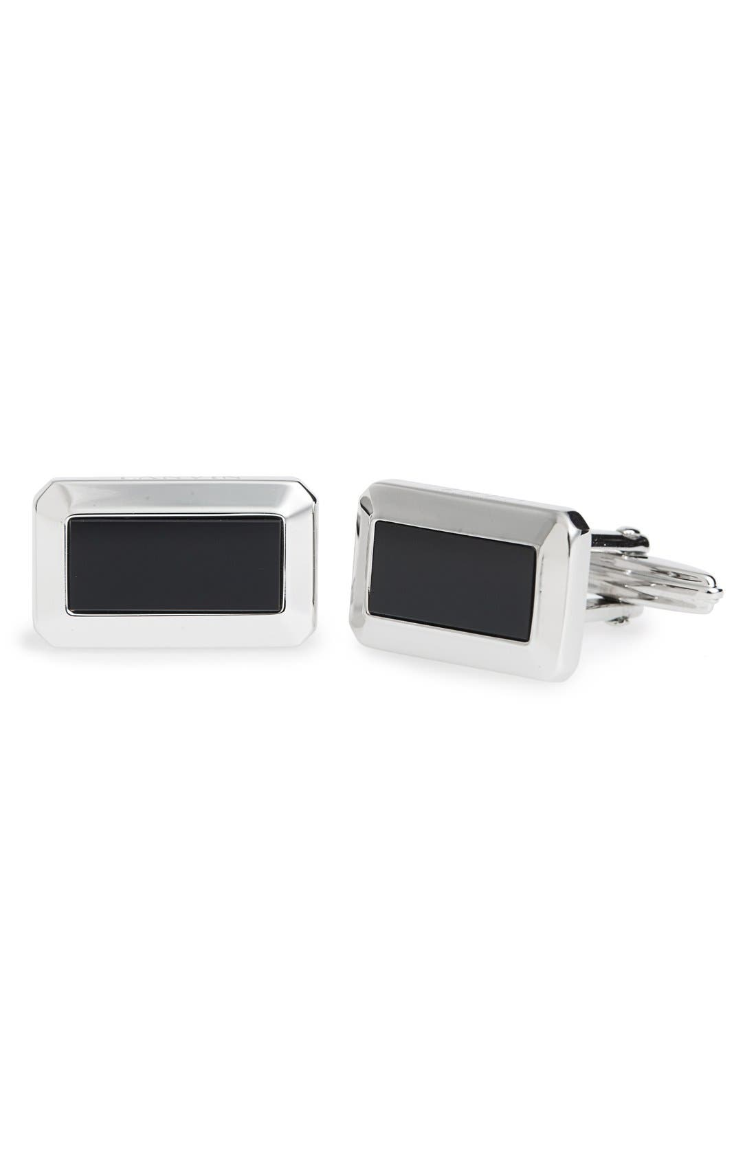 Onyx Inset Rectangular Cuff Links,                             Main thumbnail 1, color,                             SILVER/ BLACK