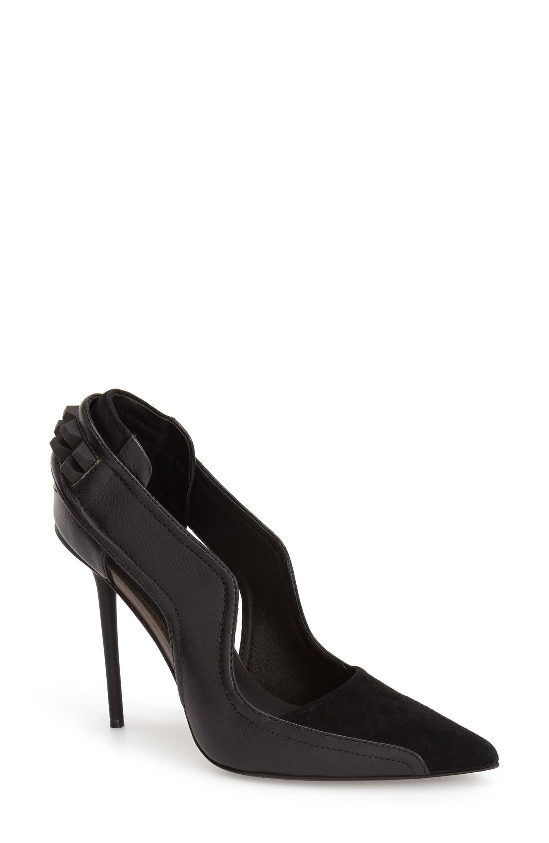 'Enforce' Leather & Suede Pointy Toe Pump,                             Main thumbnail 1, color,                             002
