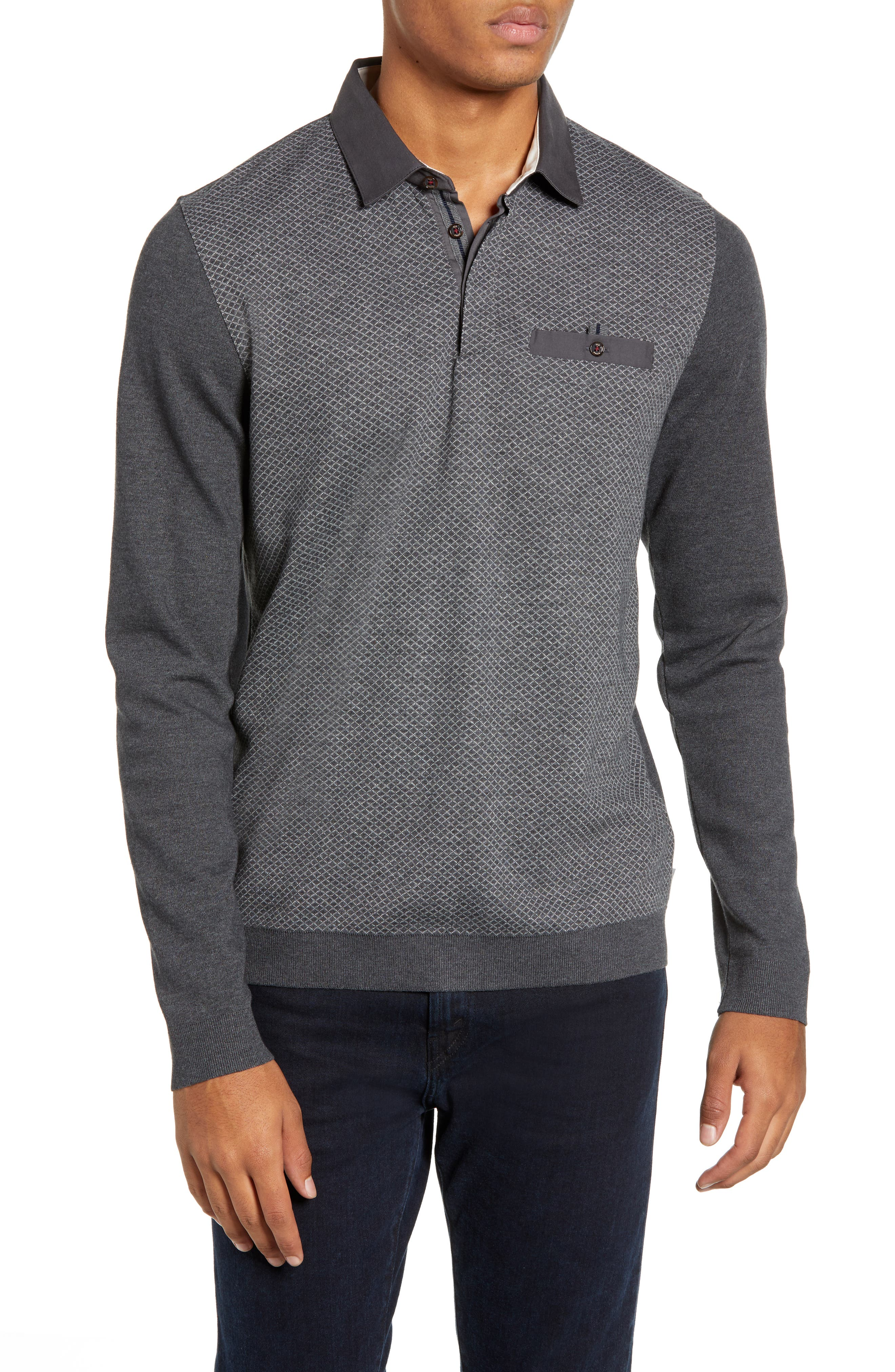 Friend Slim Fit Long Sleeve Polo,                         Main,                         color, CHARCOAL