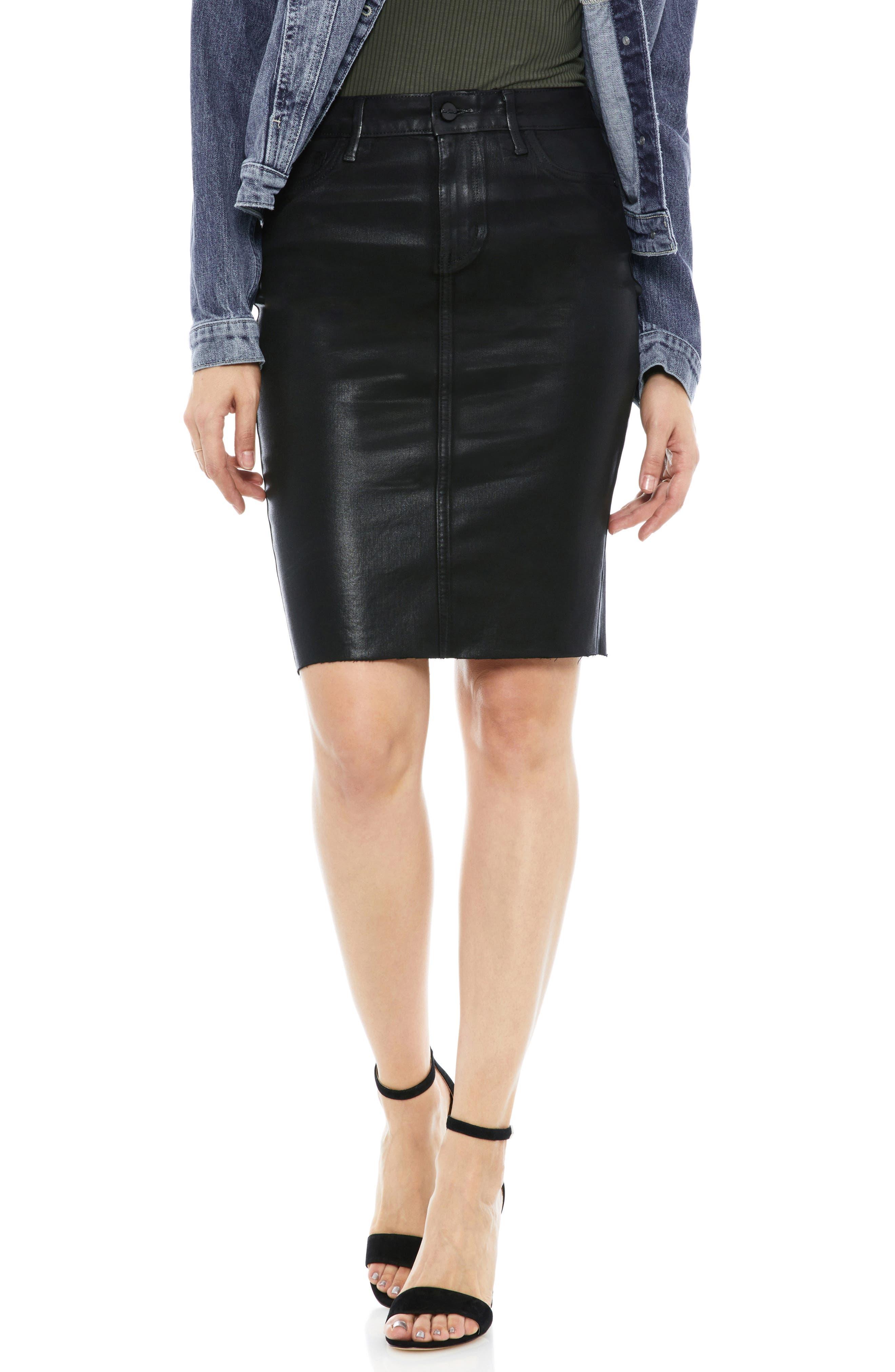 Sam Edelman Riley Coated Denim Skirt, Black