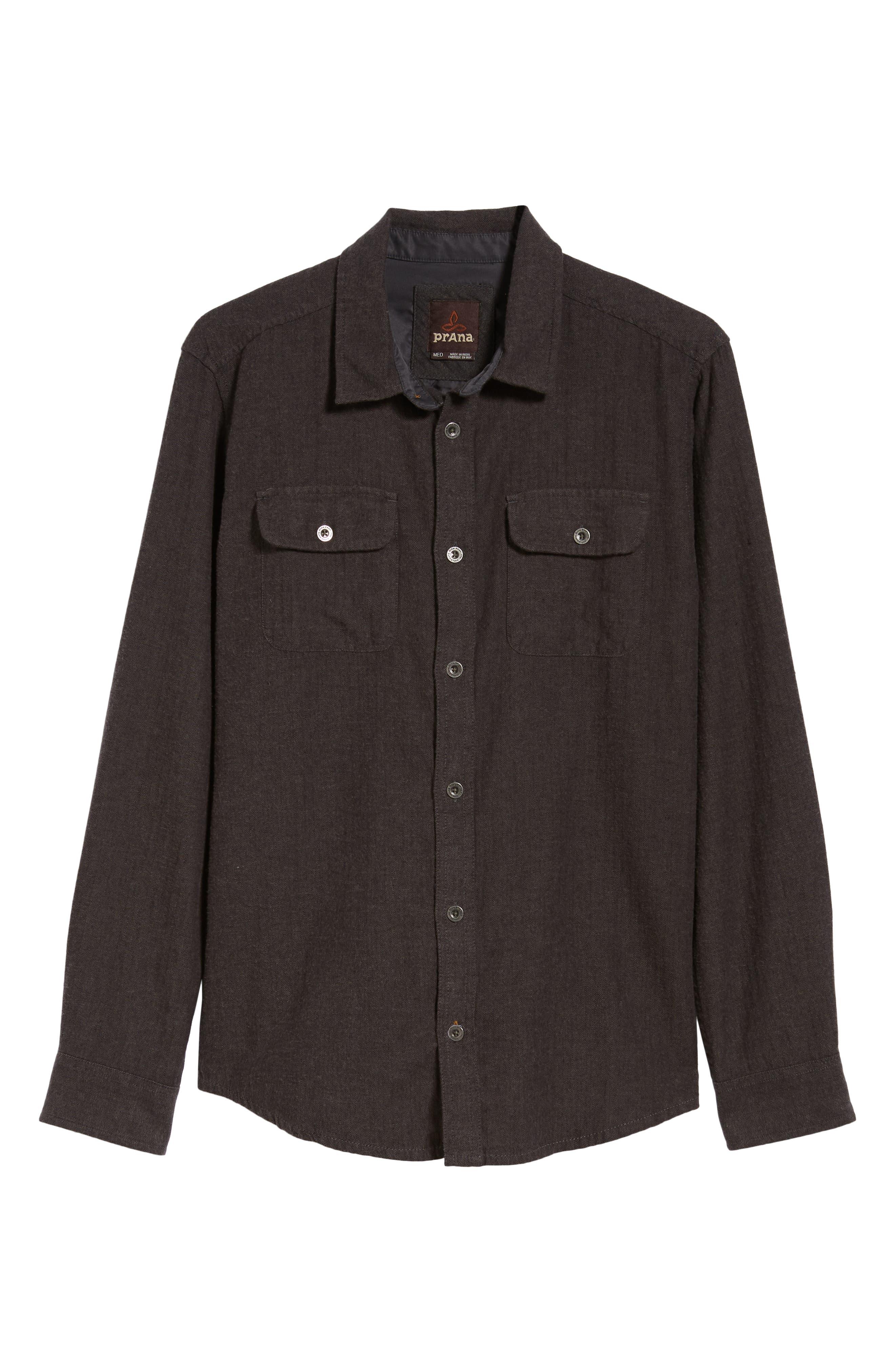 Lybek Regular Fit Herringbone Flannel Shirt,                             Alternate thumbnail 5, color,                             SCORCHED BROWN HERRINGBONE