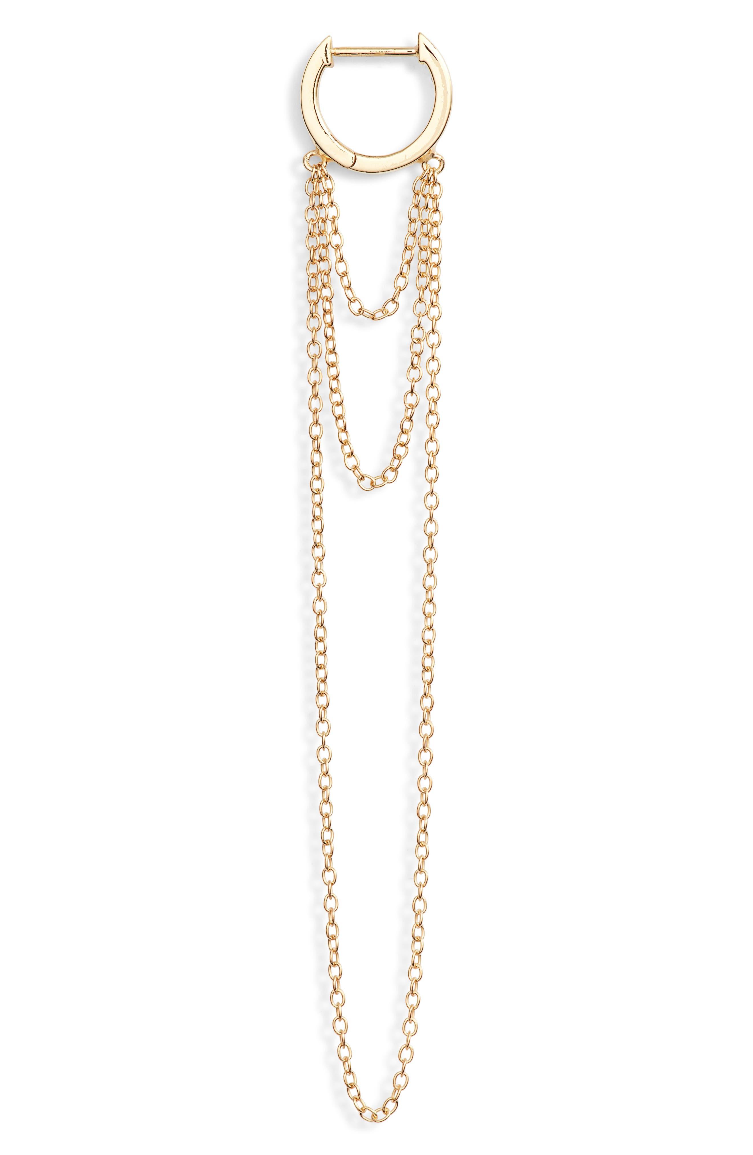 Elmar Huggie Chain earrings,                             Alternate thumbnail 3, color,                             710