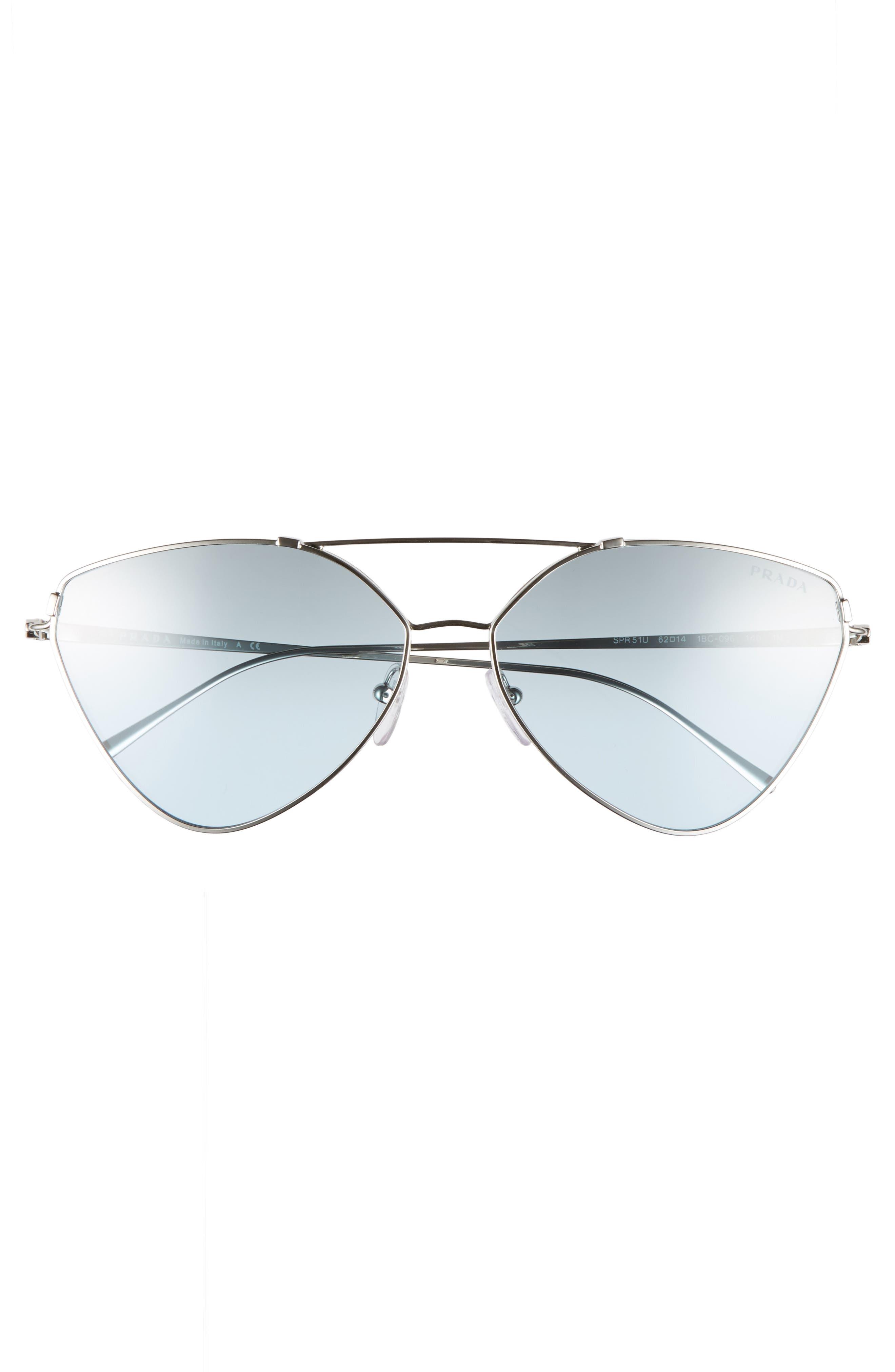 62mm Oversize Aviator Sunglasses,                             Alternate thumbnail 4, color,