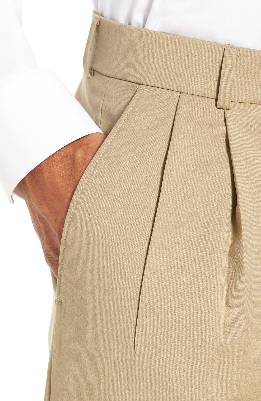 Pleated Solid Wool Trousers,                             Alternate thumbnail 48, color,