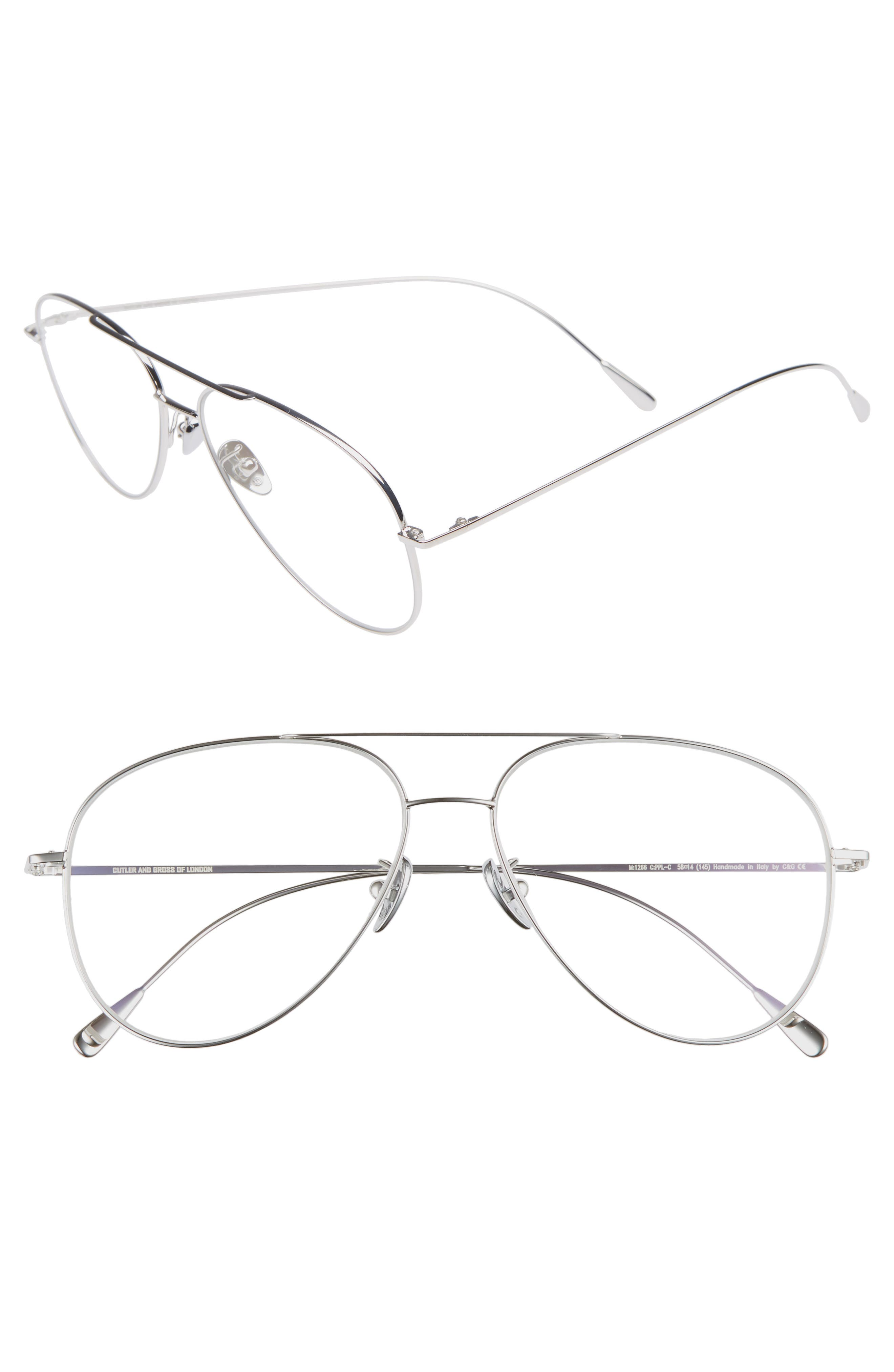 58mm Polarized Aviator Optical Glasses,                             Main thumbnail 1, color,                             PALLADIUM