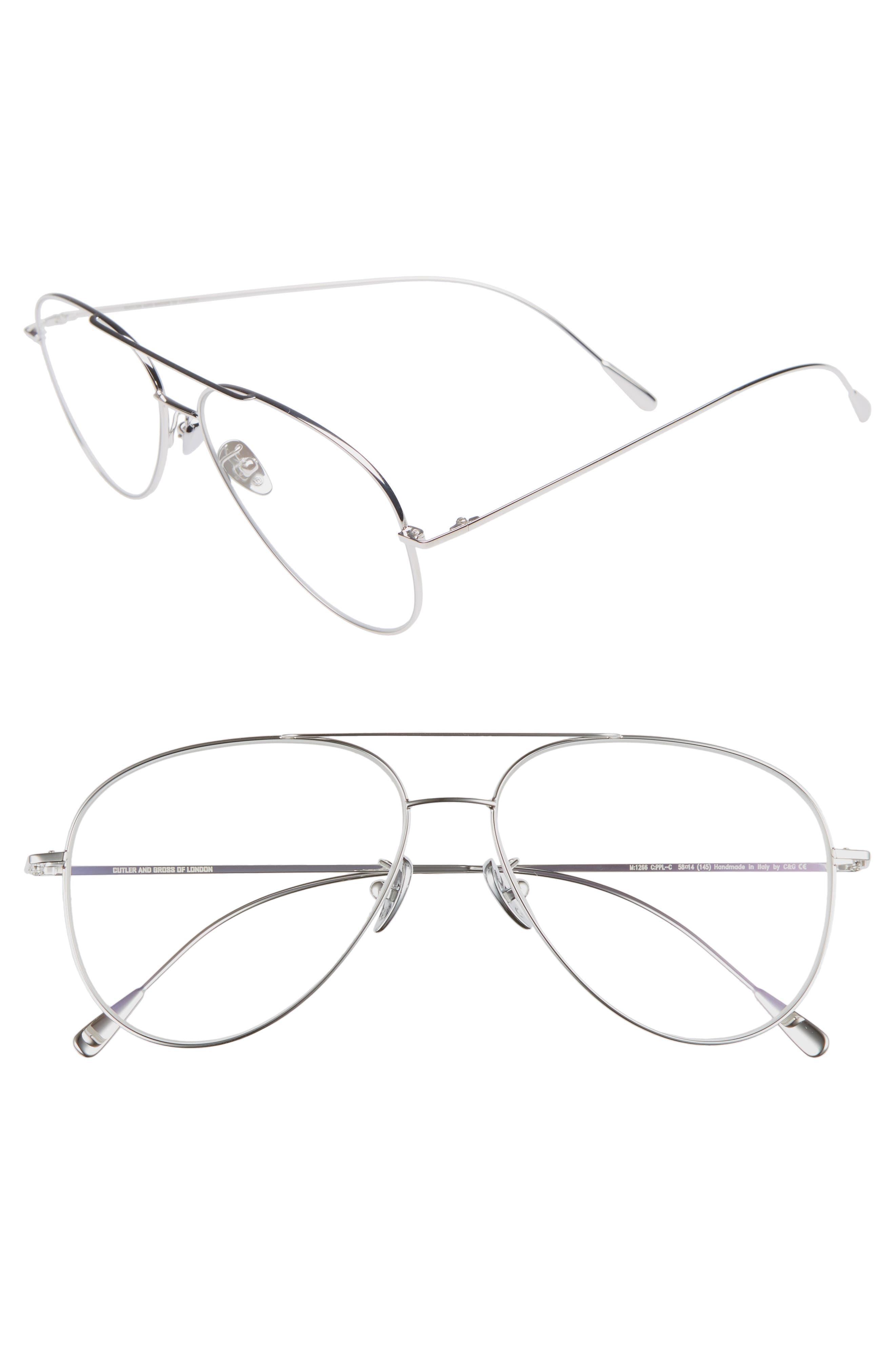 58mm Polarized Aviator Optical Glasses,                         Main,                         color, PALLADIUM