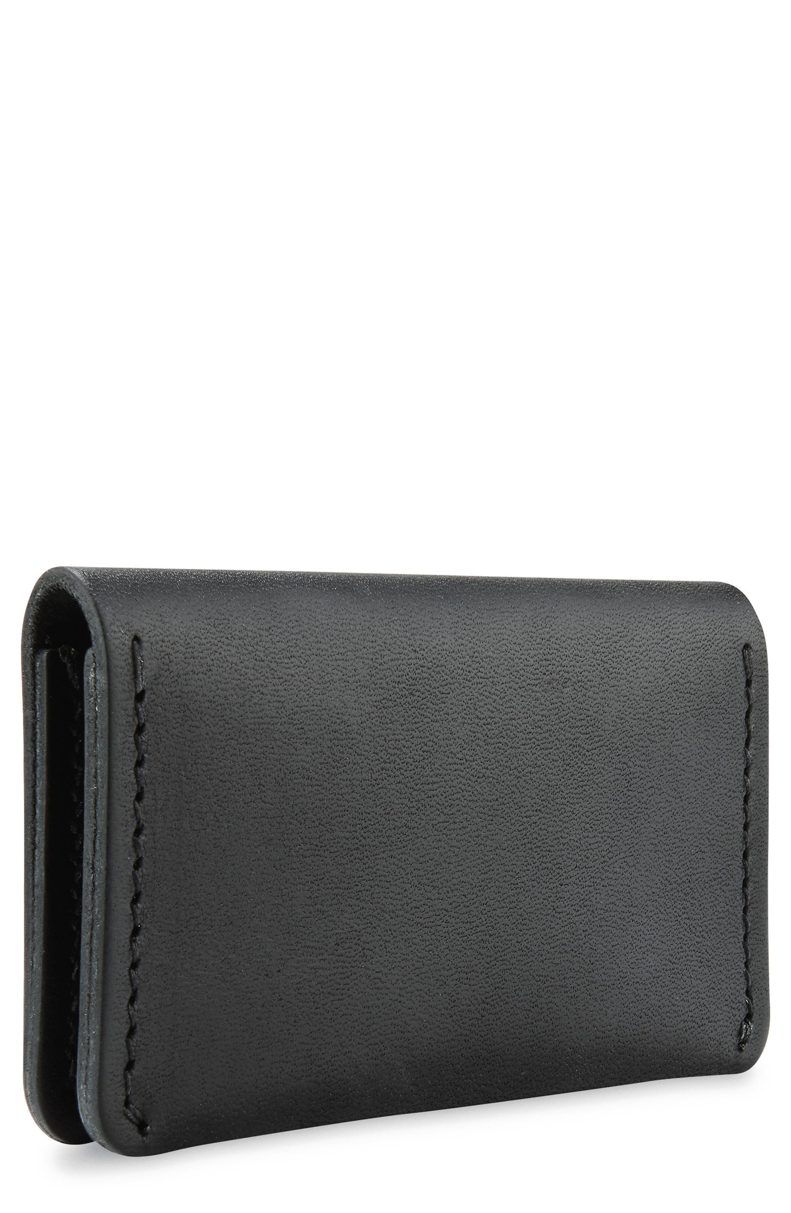 Leather Card Holder,                         Main,                         color, BLACK