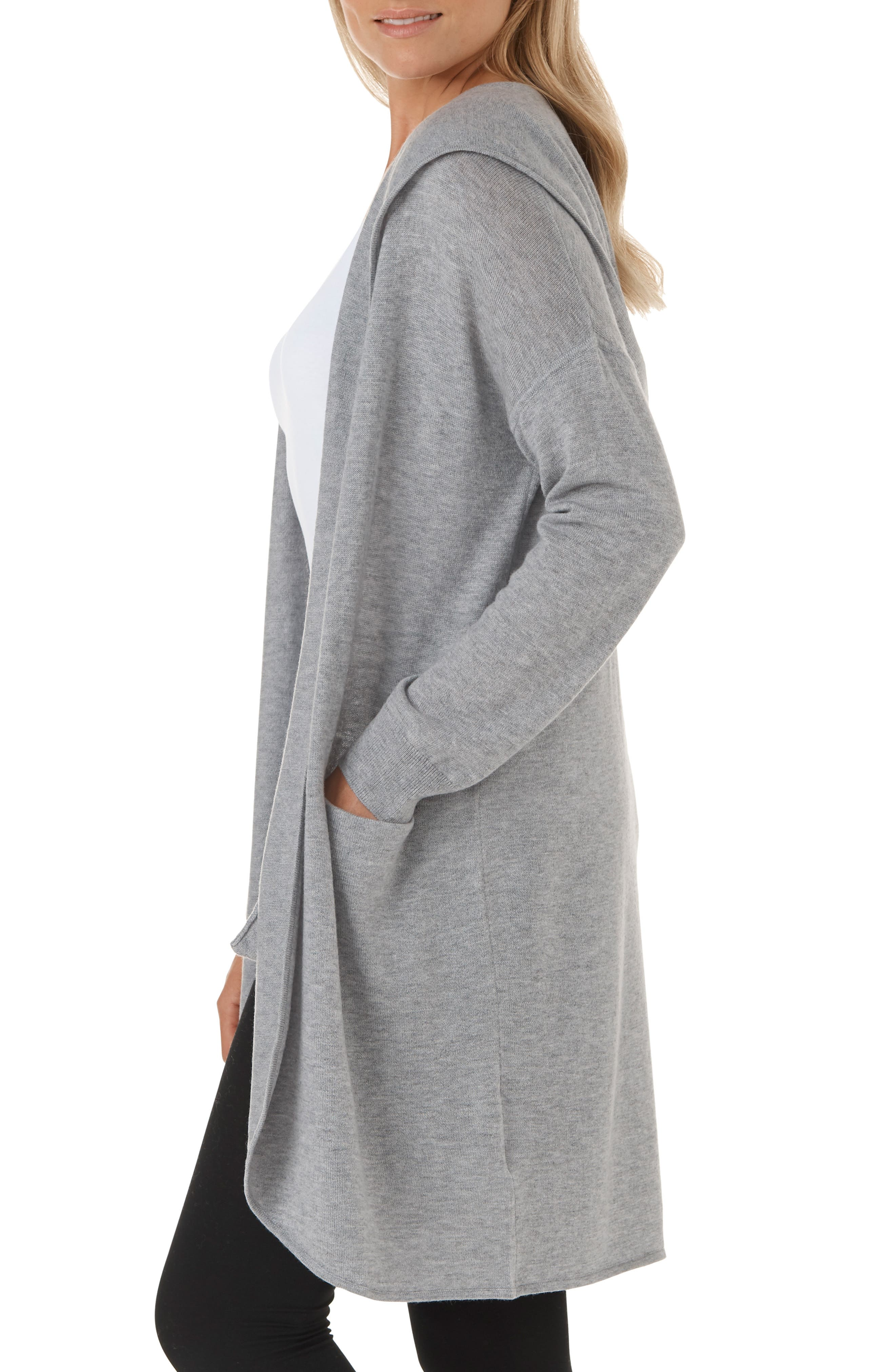 Wool & Cashmere Hooded Cardigan,                             Alternate thumbnail 3, color,                             MGM