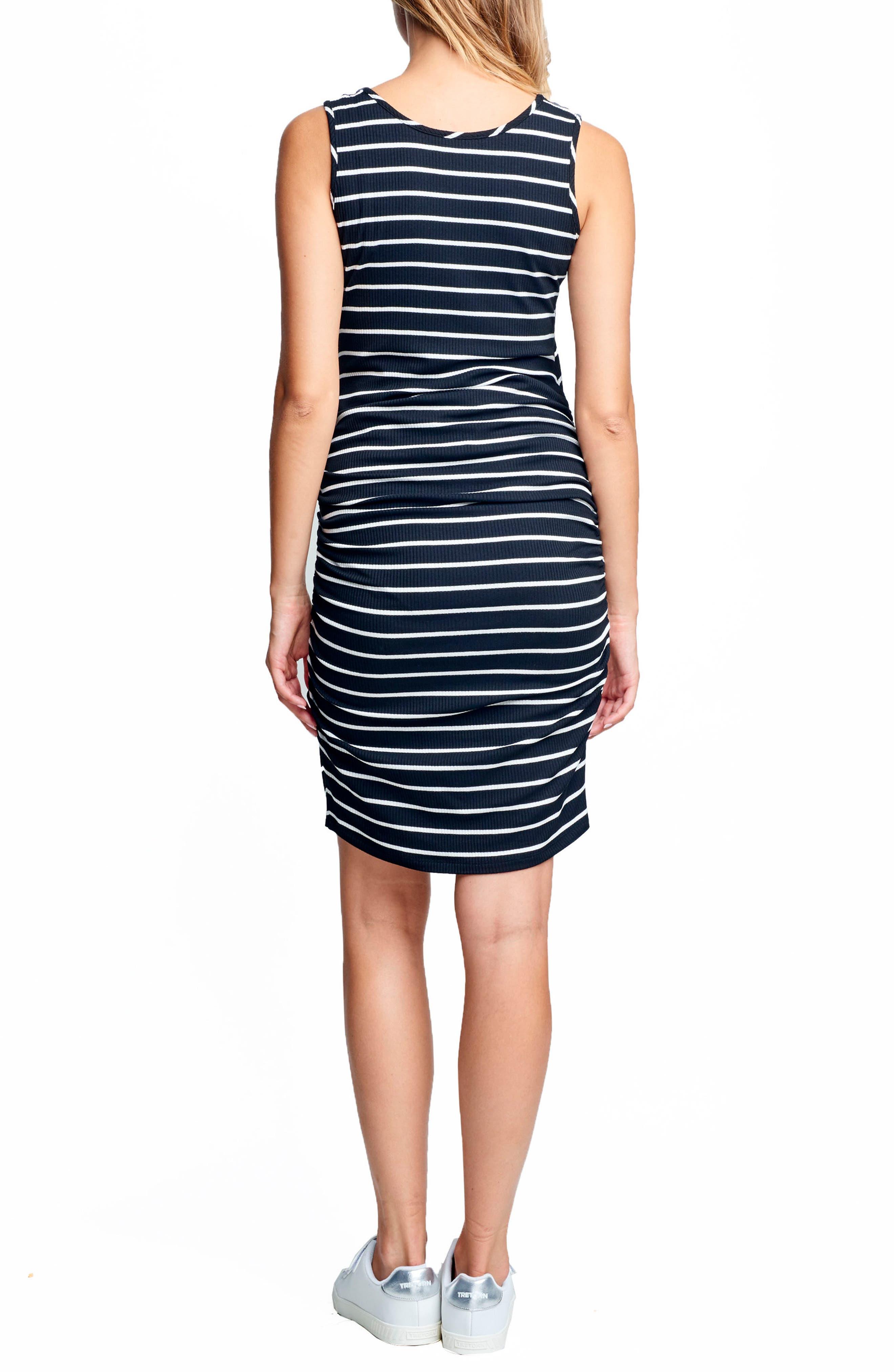 Ruched Maternity/Nursing Dress,                             Alternate thumbnail 2, color,                             BLACK/ WHITE STRIPE