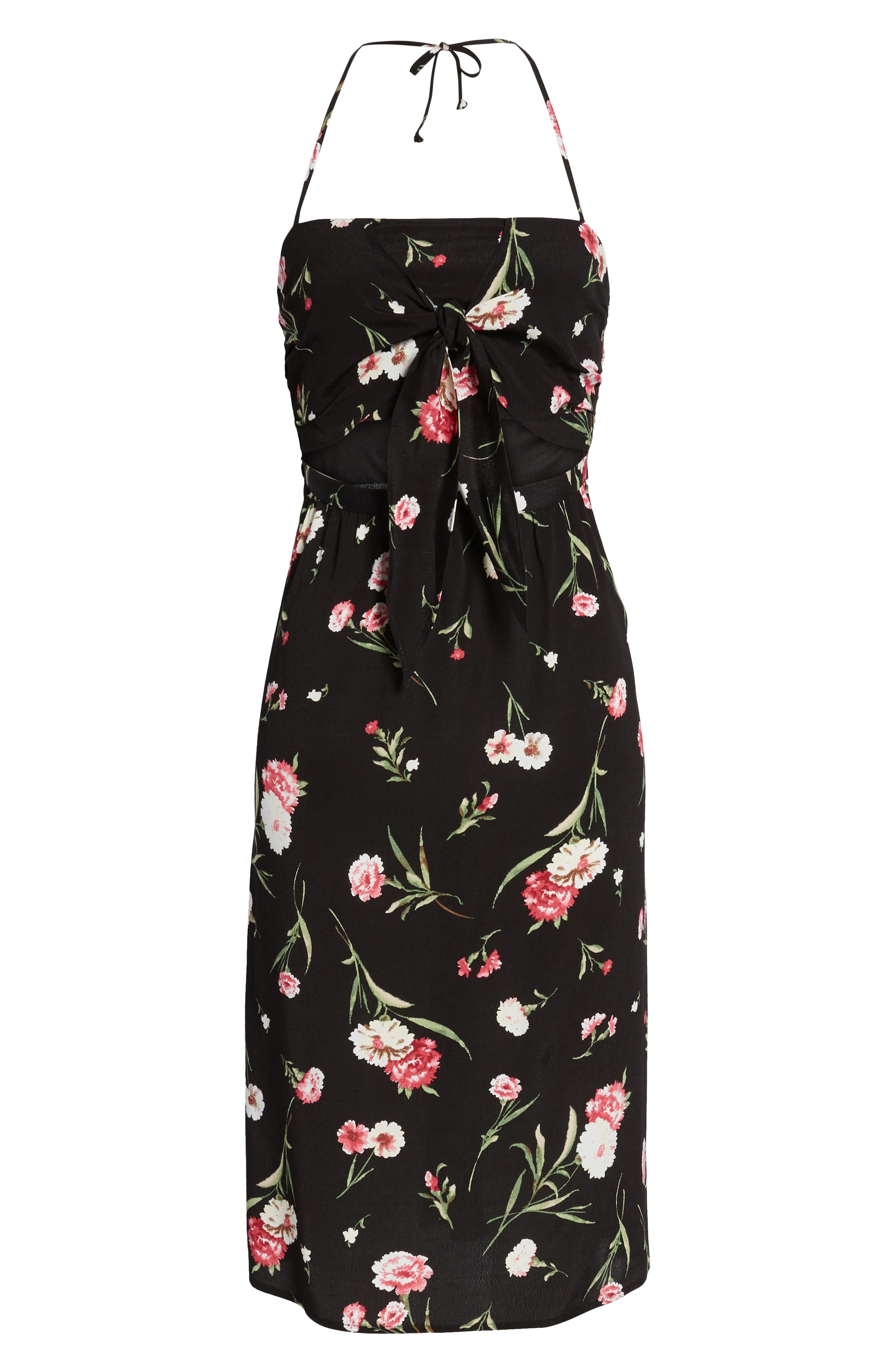 Tie Front Floral Dress,                             Alternate thumbnail 6, color,                             001