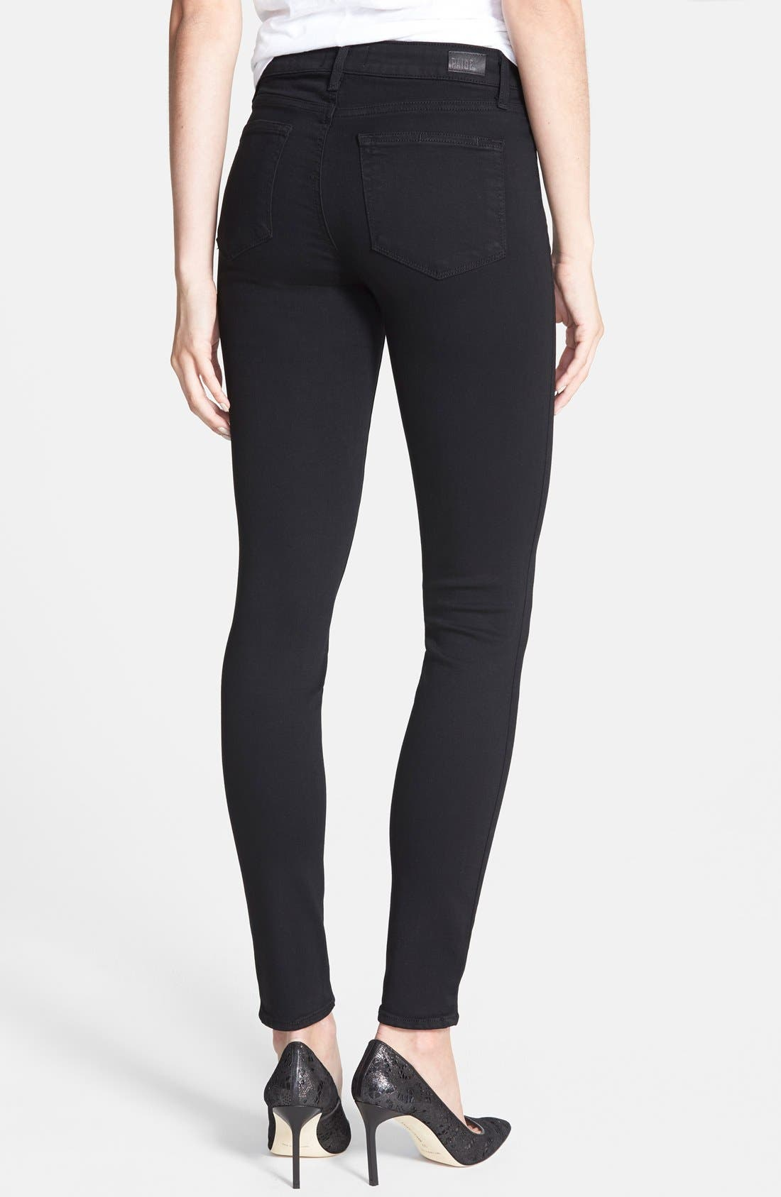 Transcend - Hoxton High Waist Ultra Skinny Stretch Jeans,                             Alternate thumbnail 4, color,                             BLACK SHADOW