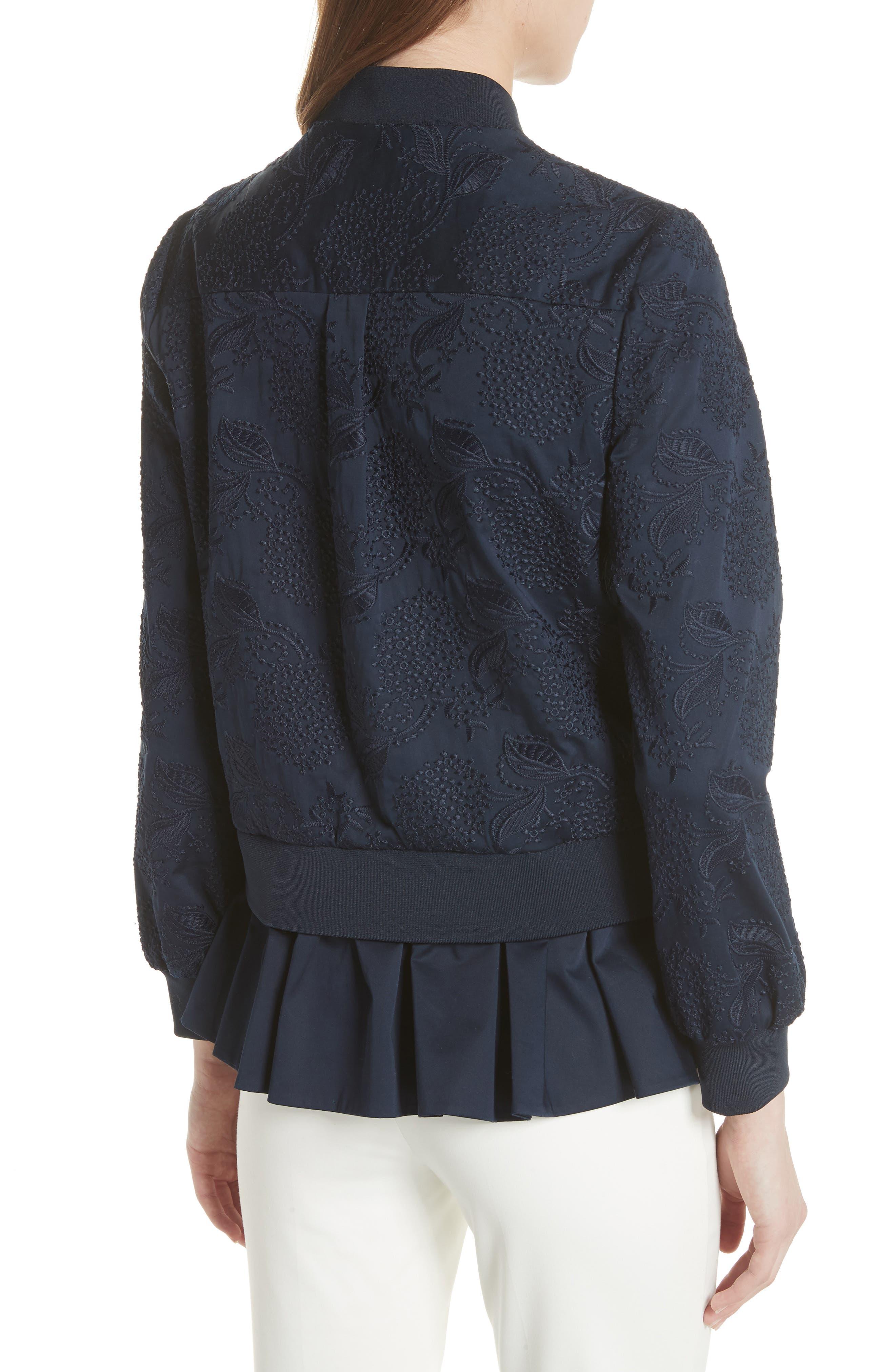 Embellished Frill Trim Bomber Jacket,                             Alternate thumbnail 2, color,