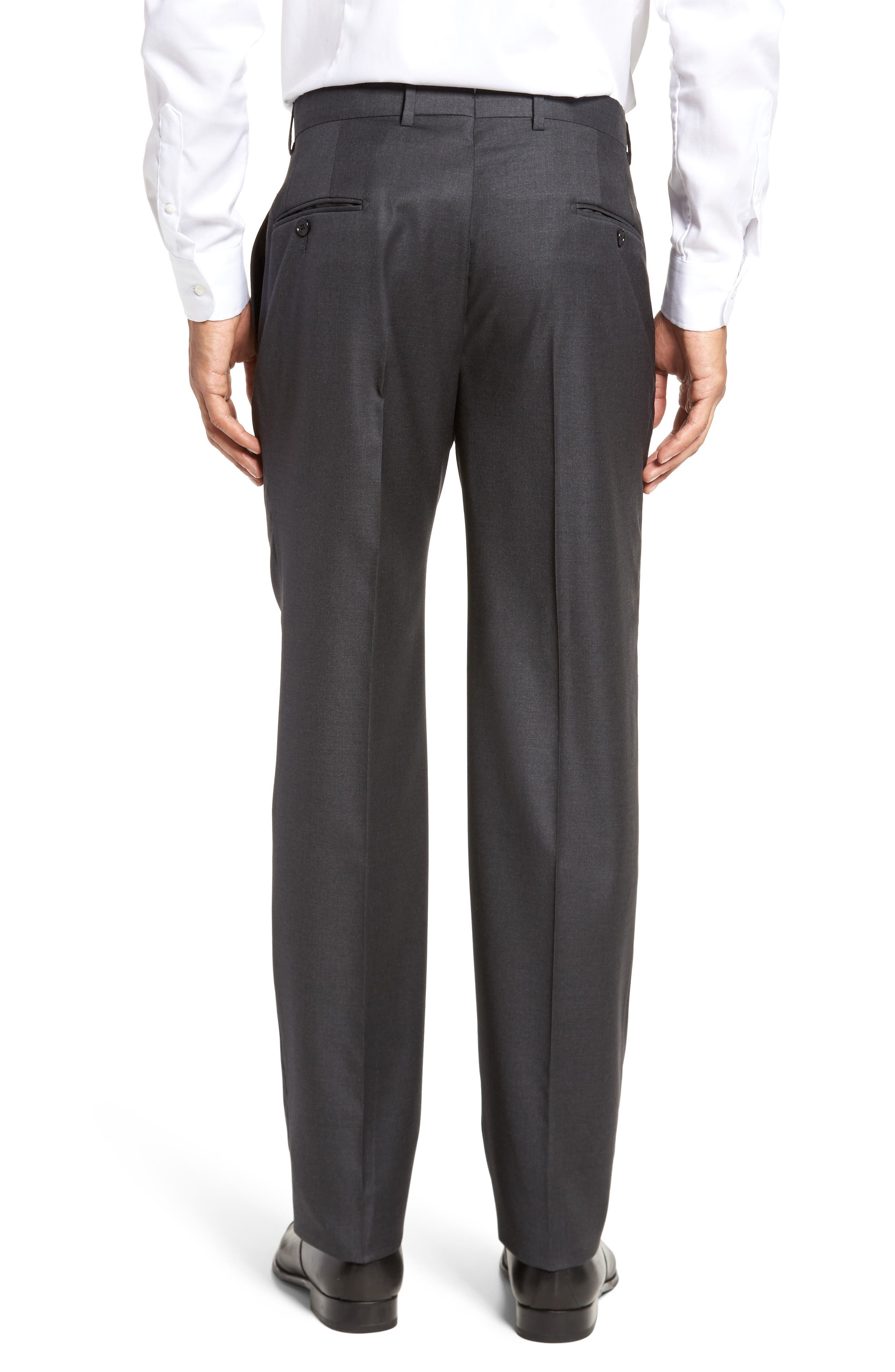 Classic B Fit Flat Front Solid Wool Trousers,                             Alternate thumbnail 3, color,                             CHARCOAL SHARKSKIN