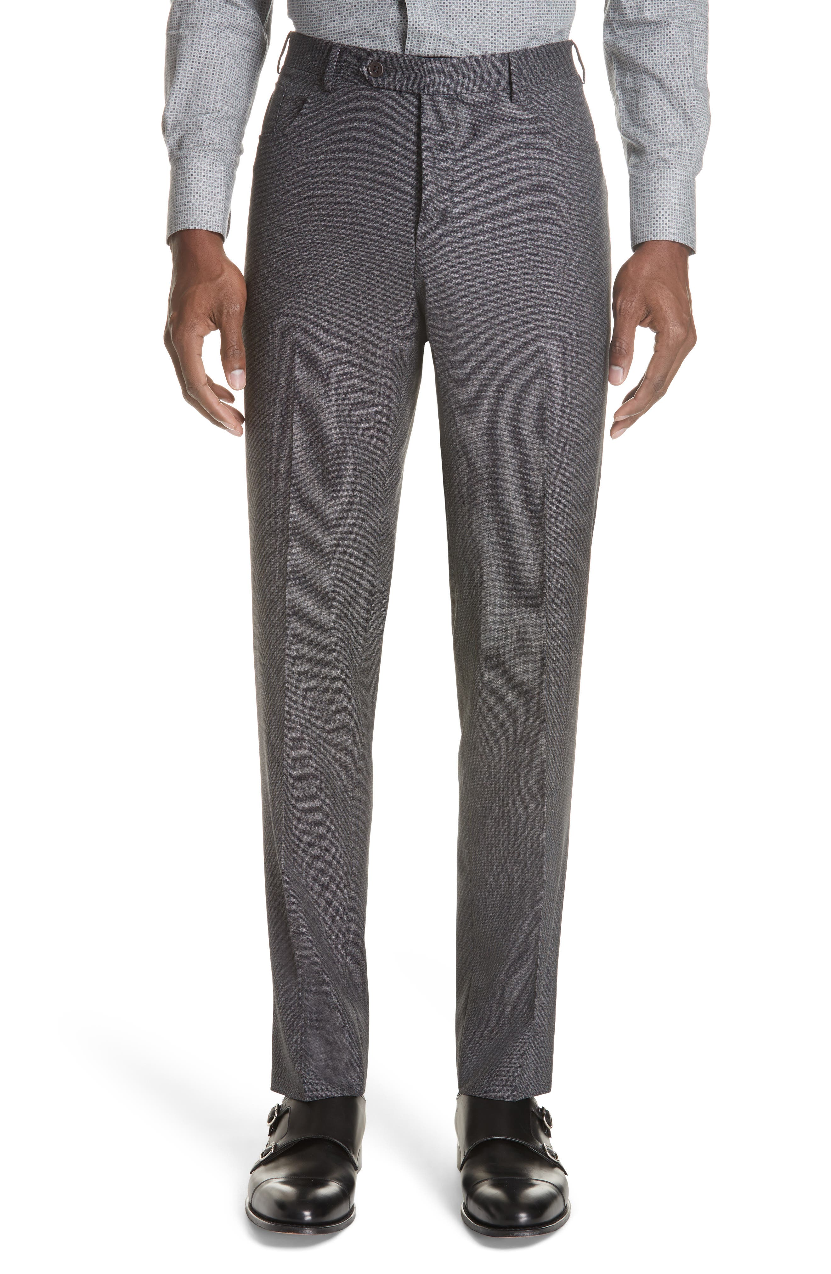 Flat Front Solid Wool Trousers,                         Main,                         color, CHARCOAL