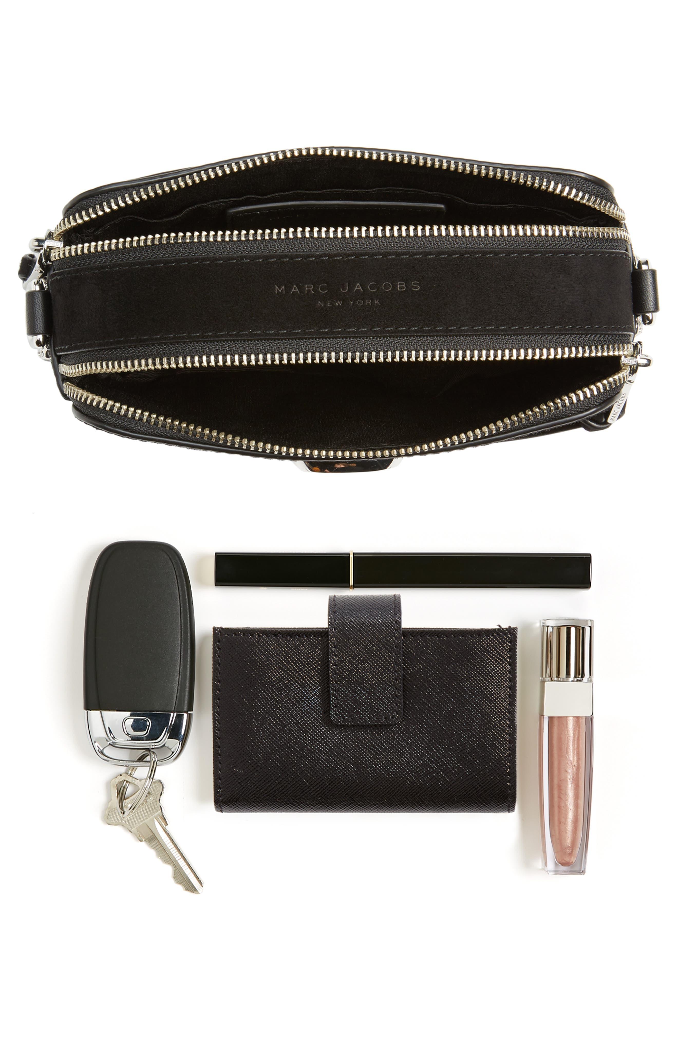 Snapshot Leather Pavé Chain Trim Crossbody Bag,                             Alternate thumbnail 7, color,                             001