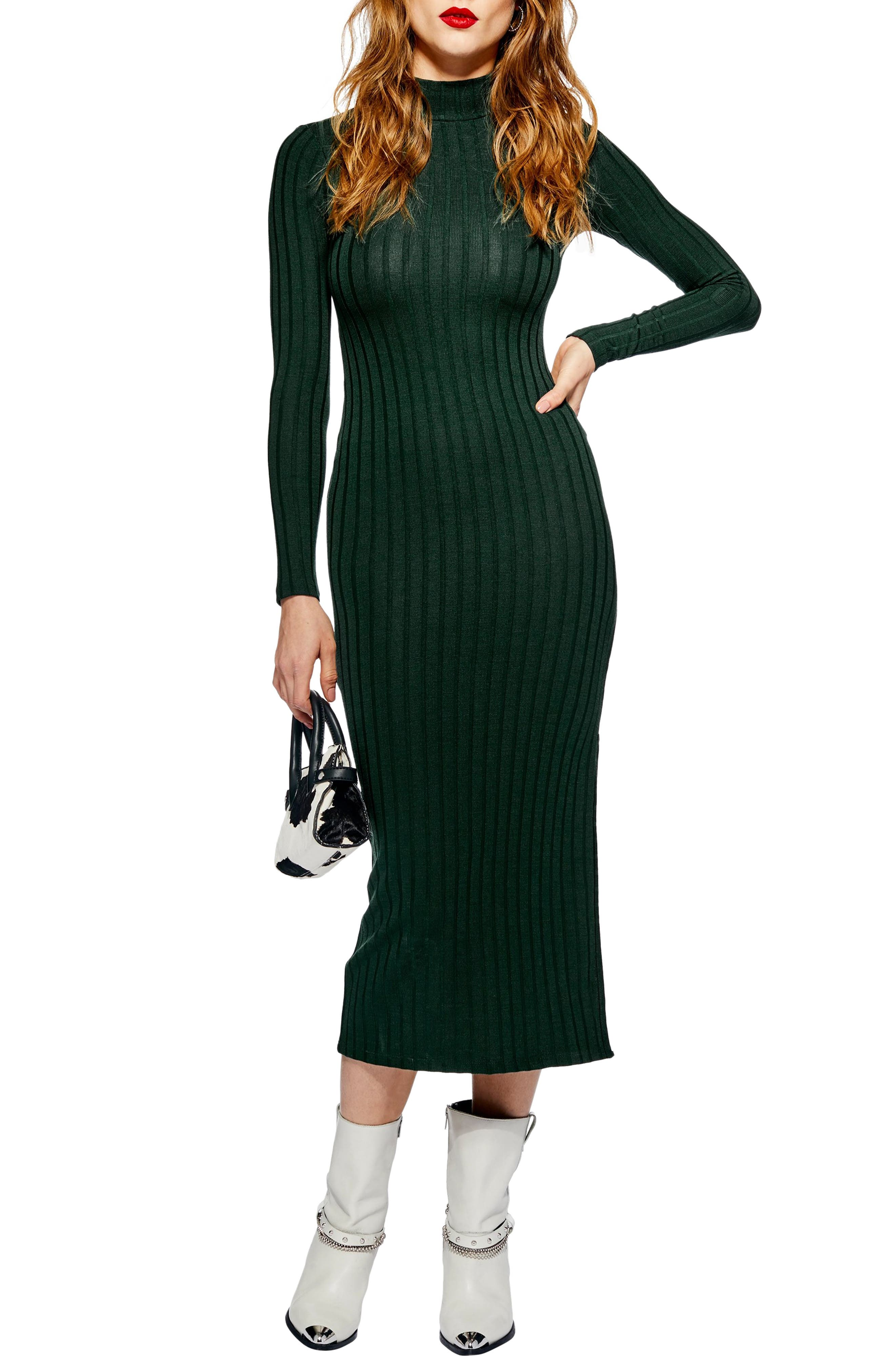 Topshop High Neck Ribbed Midi Dress, US (fits like 0) - Green