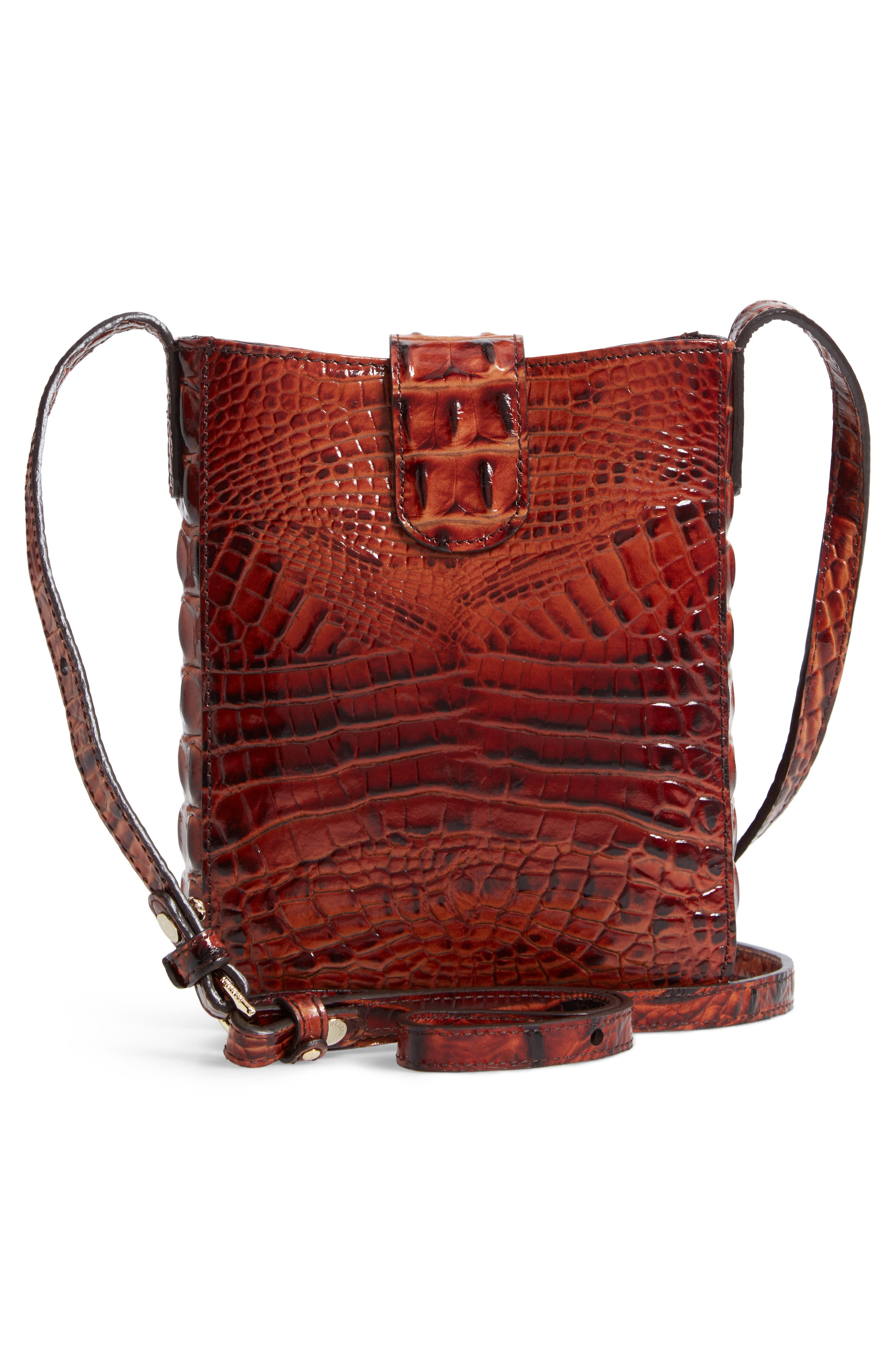 Marley Croc Embossed Leather Crossbody Bag,                             Alternate thumbnail 3, color,                             PECAN