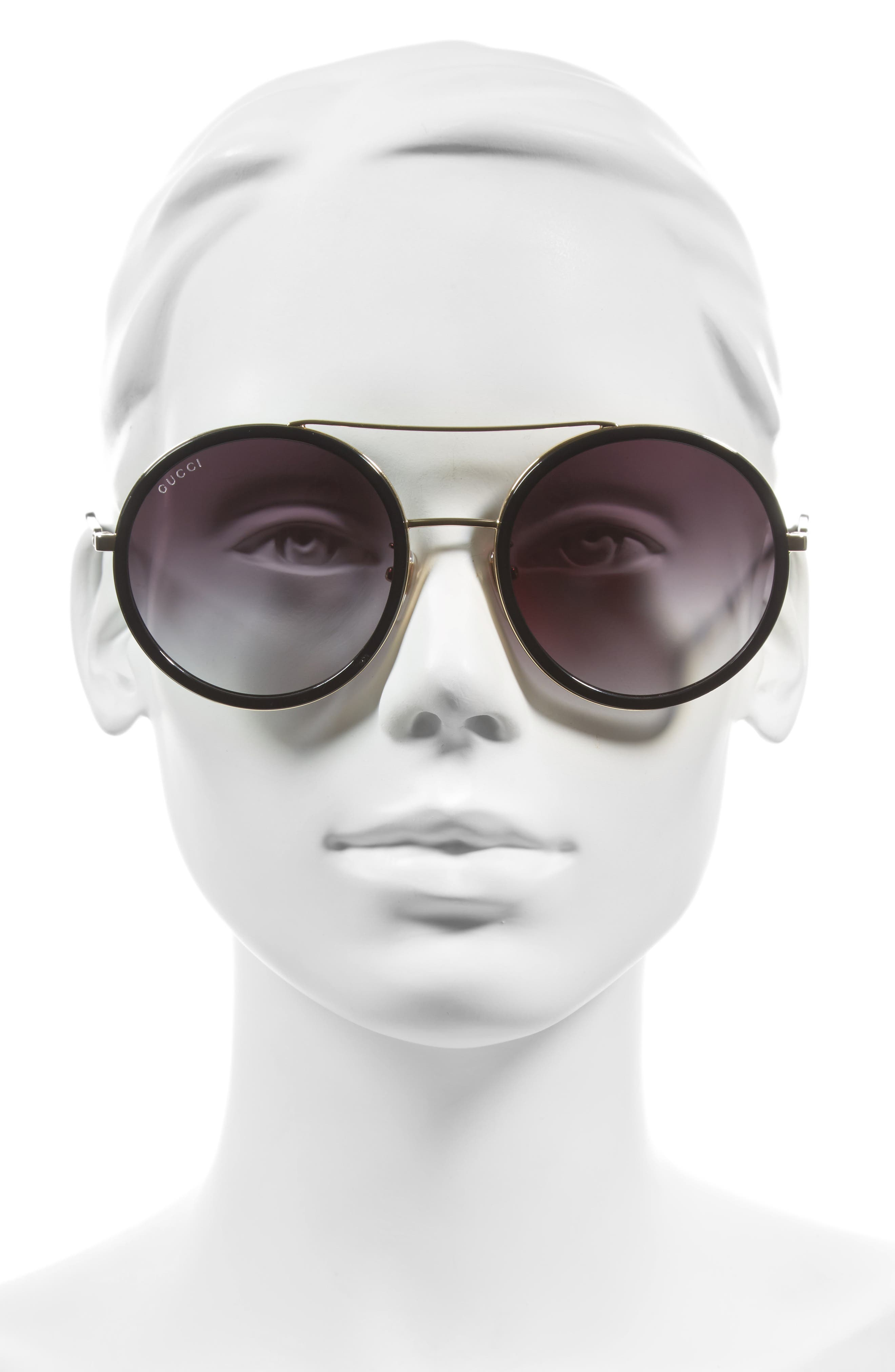 56mm Round Sunglasses,                             Main thumbnail 1, color,                             GOLD