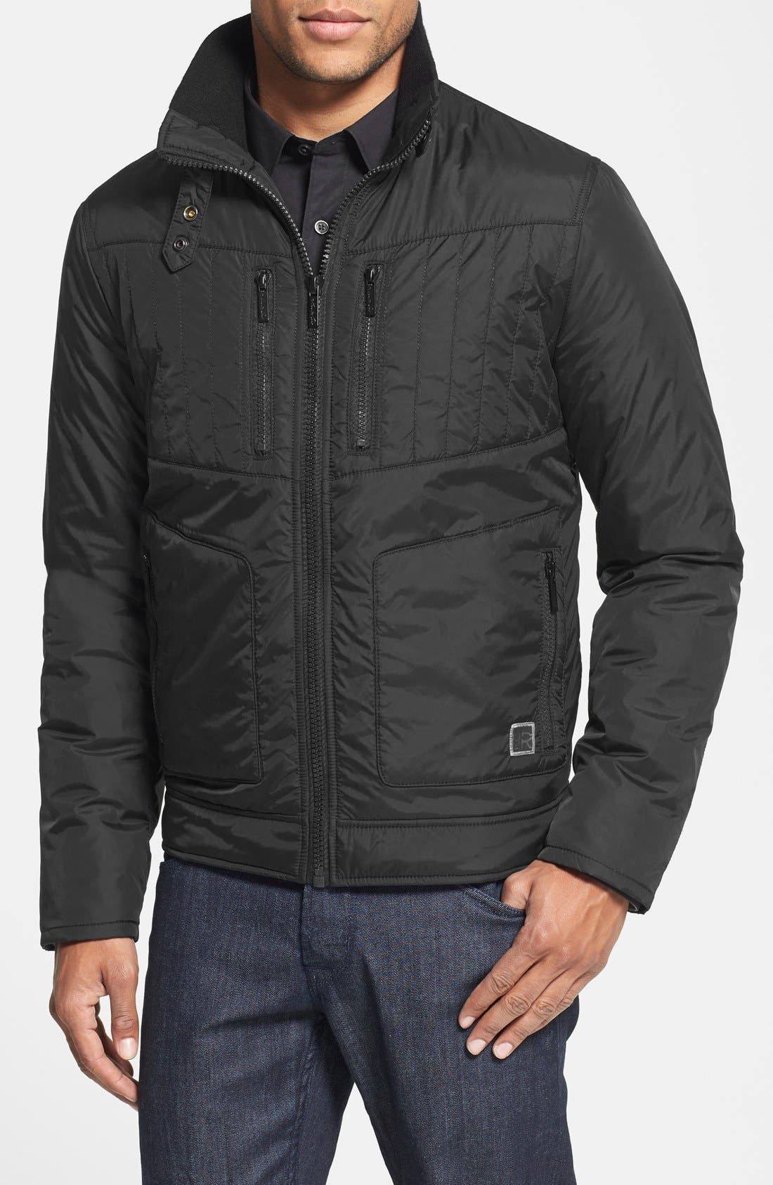 Kenneth Cole Reaction Waterproof Packable Quilted Bomber Jacket, Main, color, 001