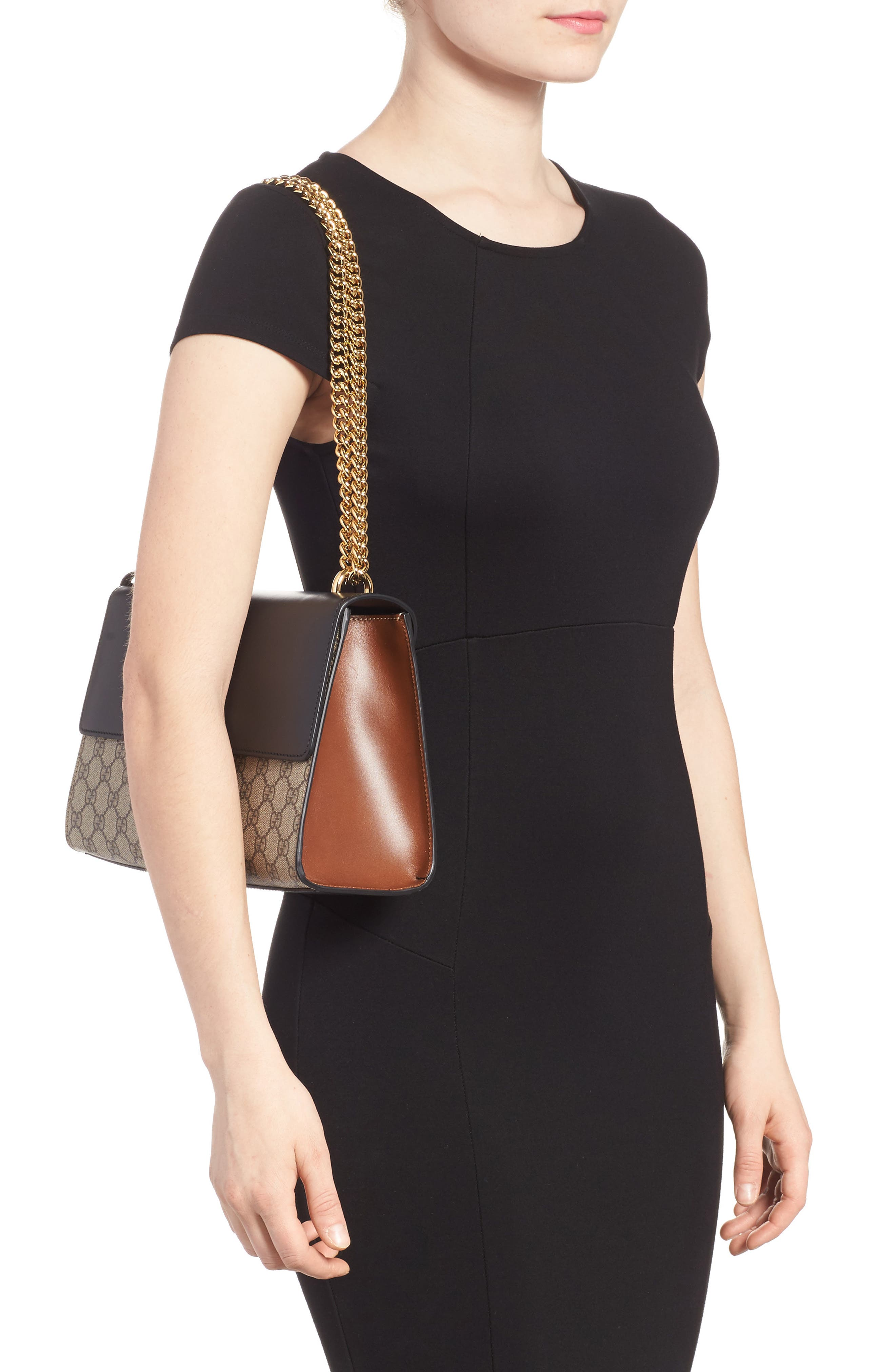 Medium Padlock Leather Shoulder Bag,                             Alternate thumbnail 2, color,                             MOON/ TOSCANO