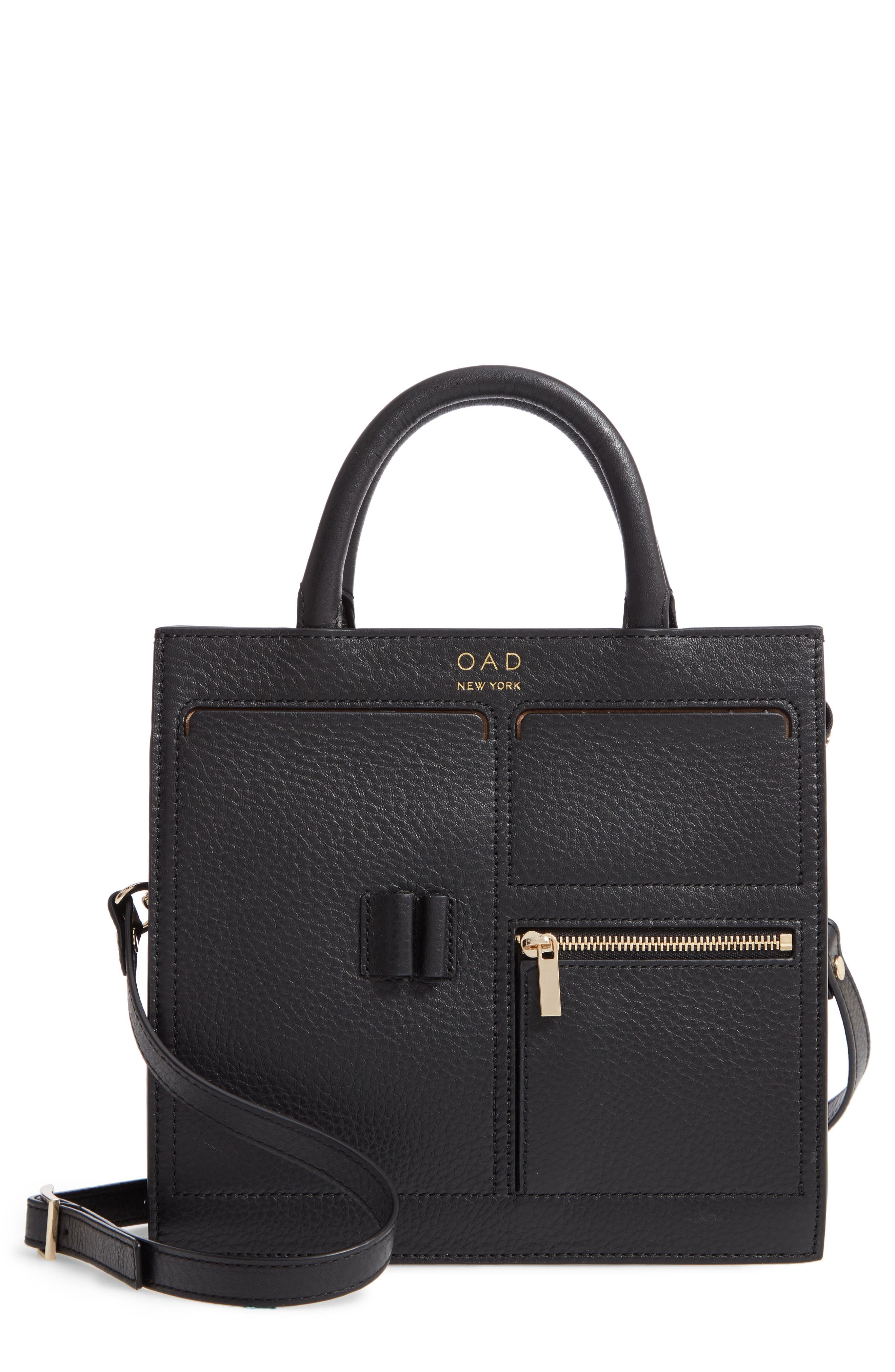 Mini Kit Leather Satchel,                         Main,                         color, TRUE BLACK