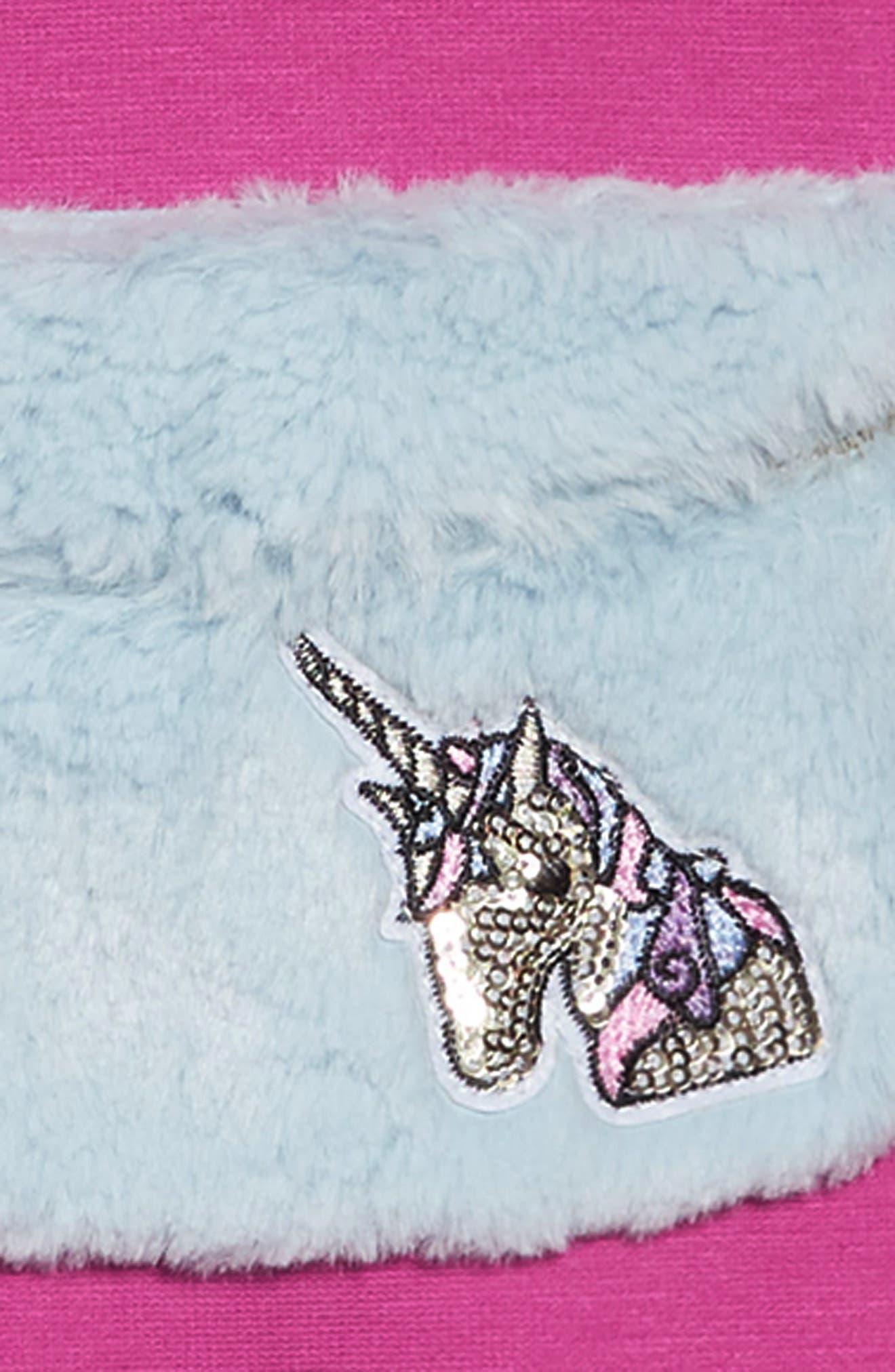 Knit Dress with Faux Fur Pouch,                             Alternate thumbnail 4, color,                             FUSCHIA
