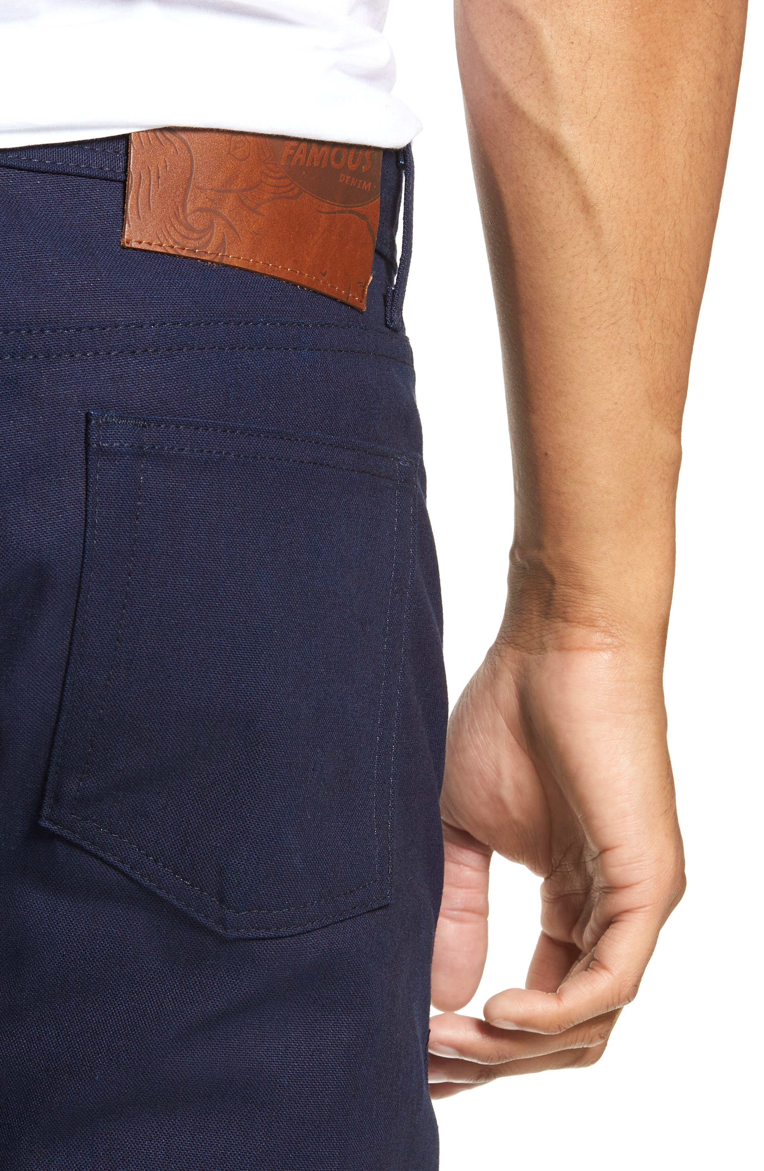 Weird Guy Slim Fit Jeans,                             Alternate thumbnail 4, color,                             INDIGO DUCK CANVAS SELVEDGE