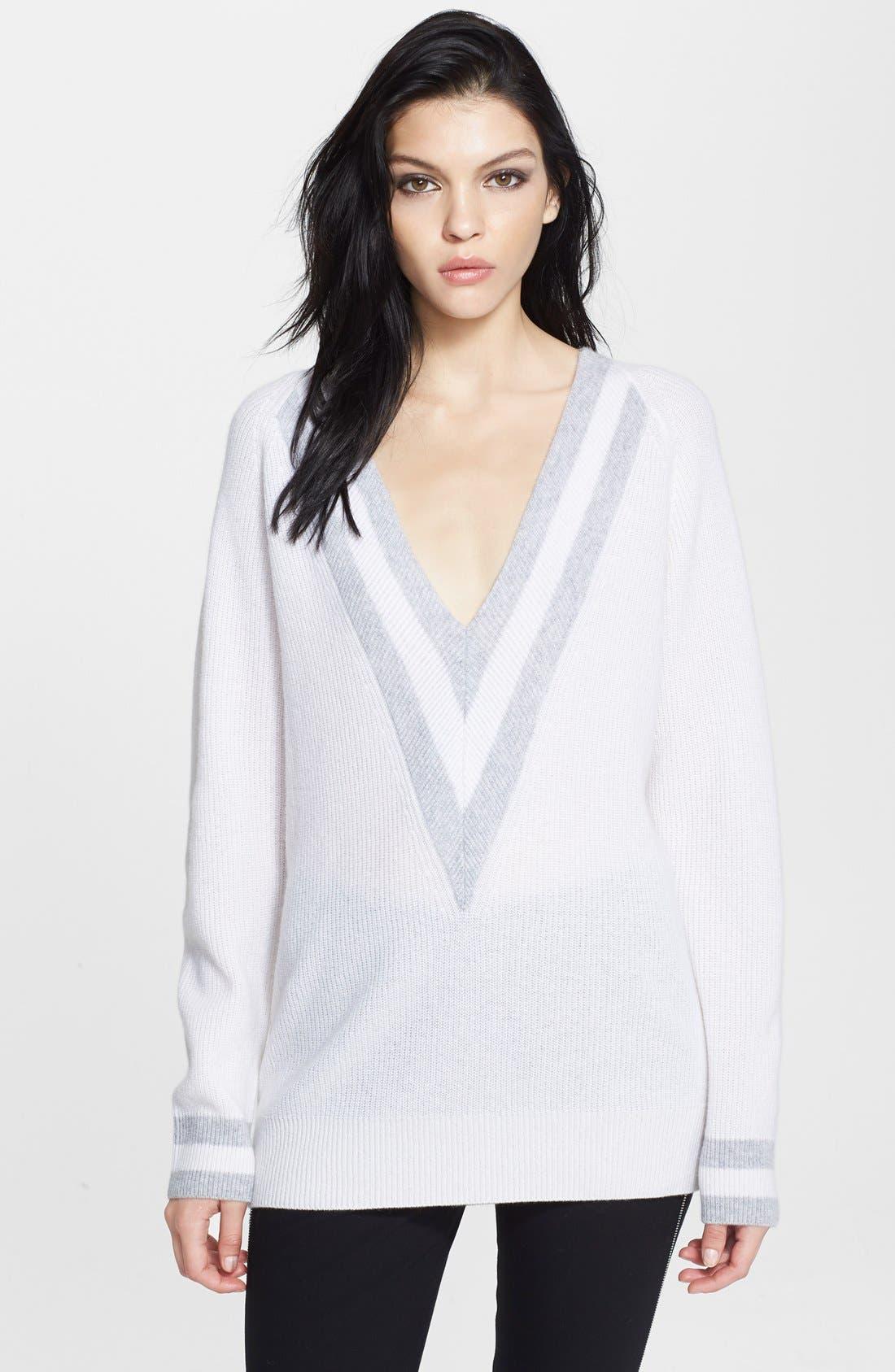 'Talia' V-Neck Cashmere Sweater,                             Main thumbnail 1, color,                             180