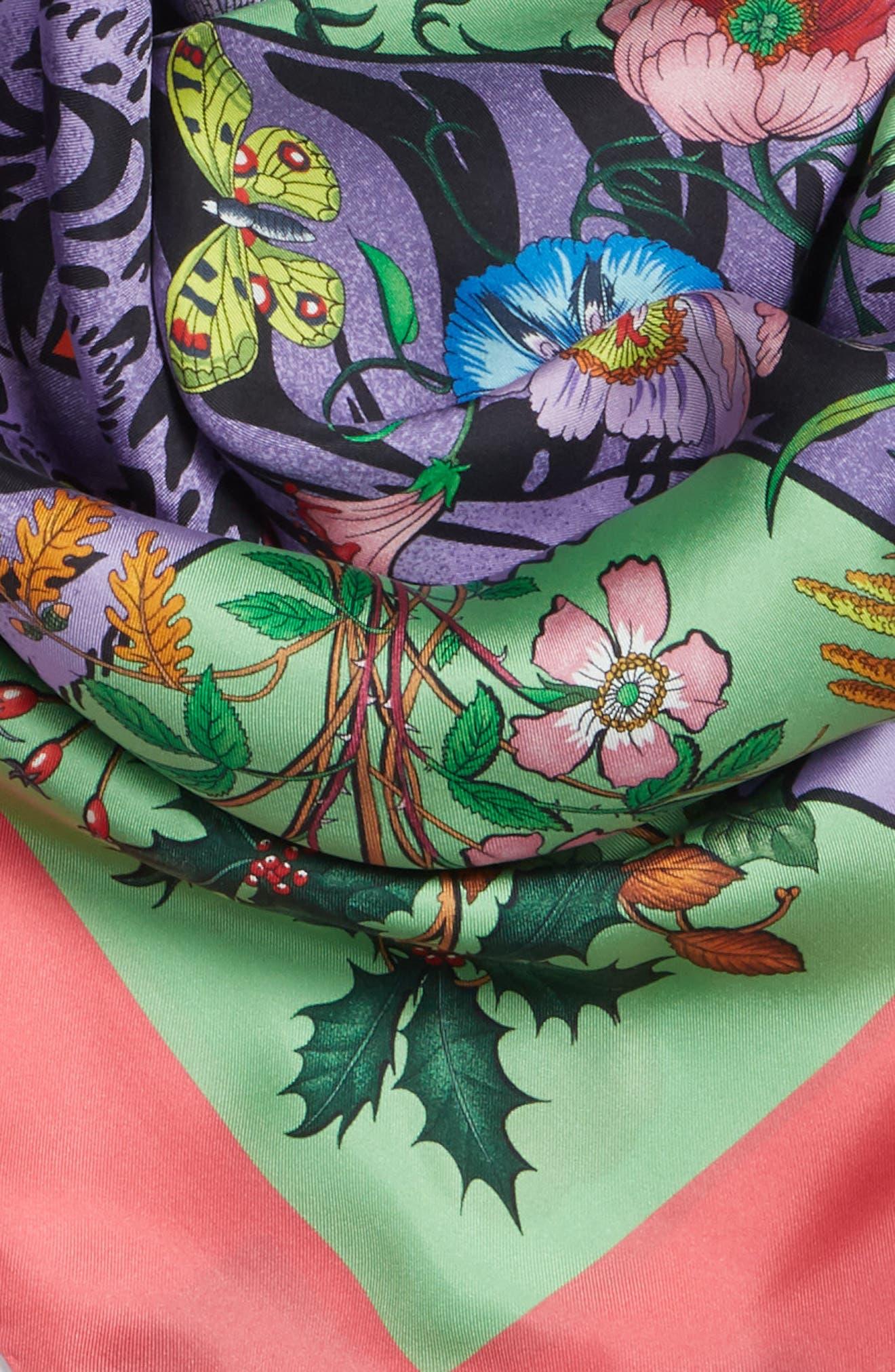 Flora Tiger Square Silk Scarf,                             Alternate thumbnail 4, color,                             AQUA/ PINK