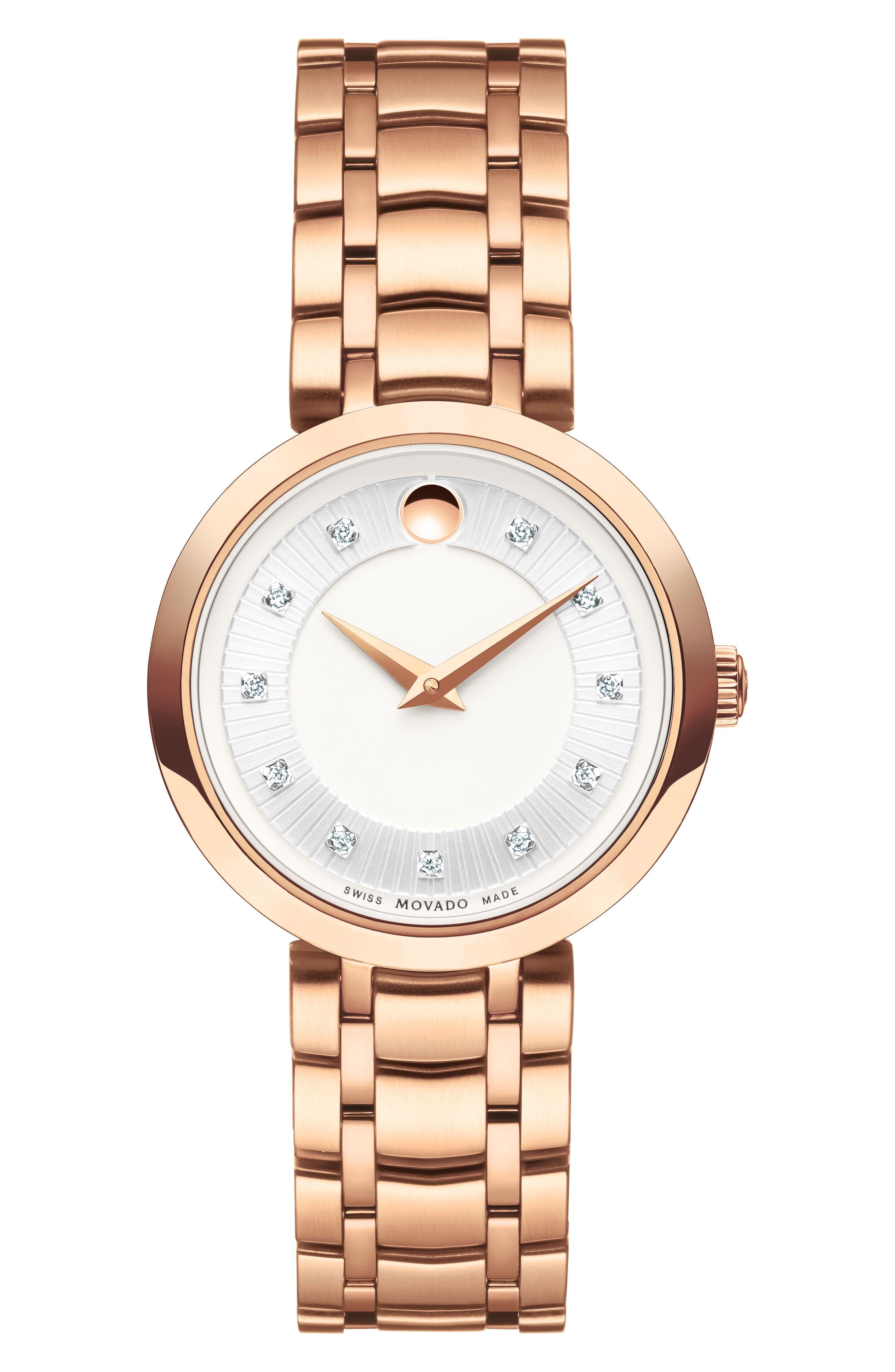 MOVADO 1881 Quartz Diamond Bracelet Watch, 28mm, Main, color, ROSE GOLD/ SILVER/ ROSE GOLD