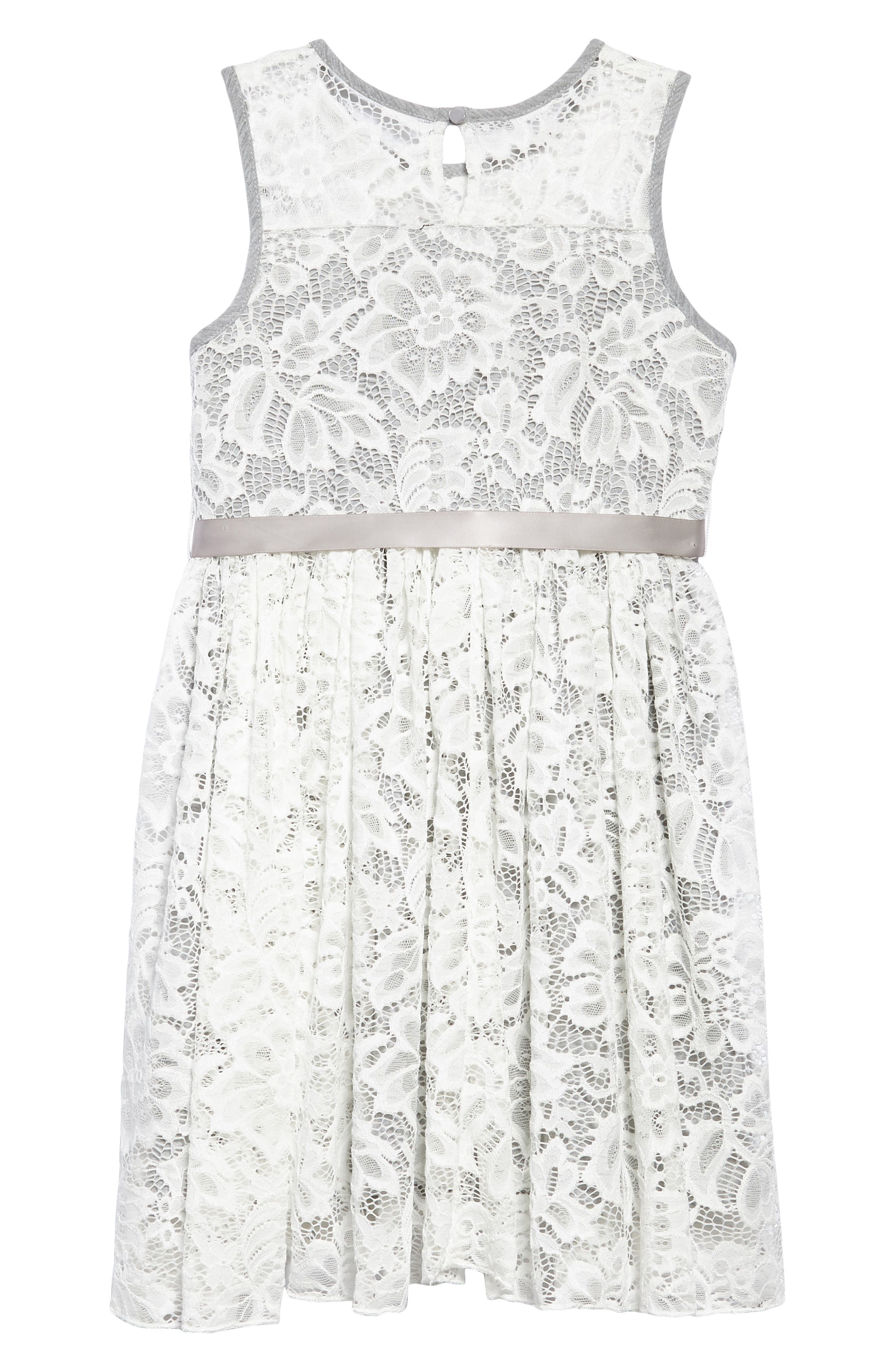 Sleeveless Floral Lace Dress,                             Alternate thumbnail 4, color,