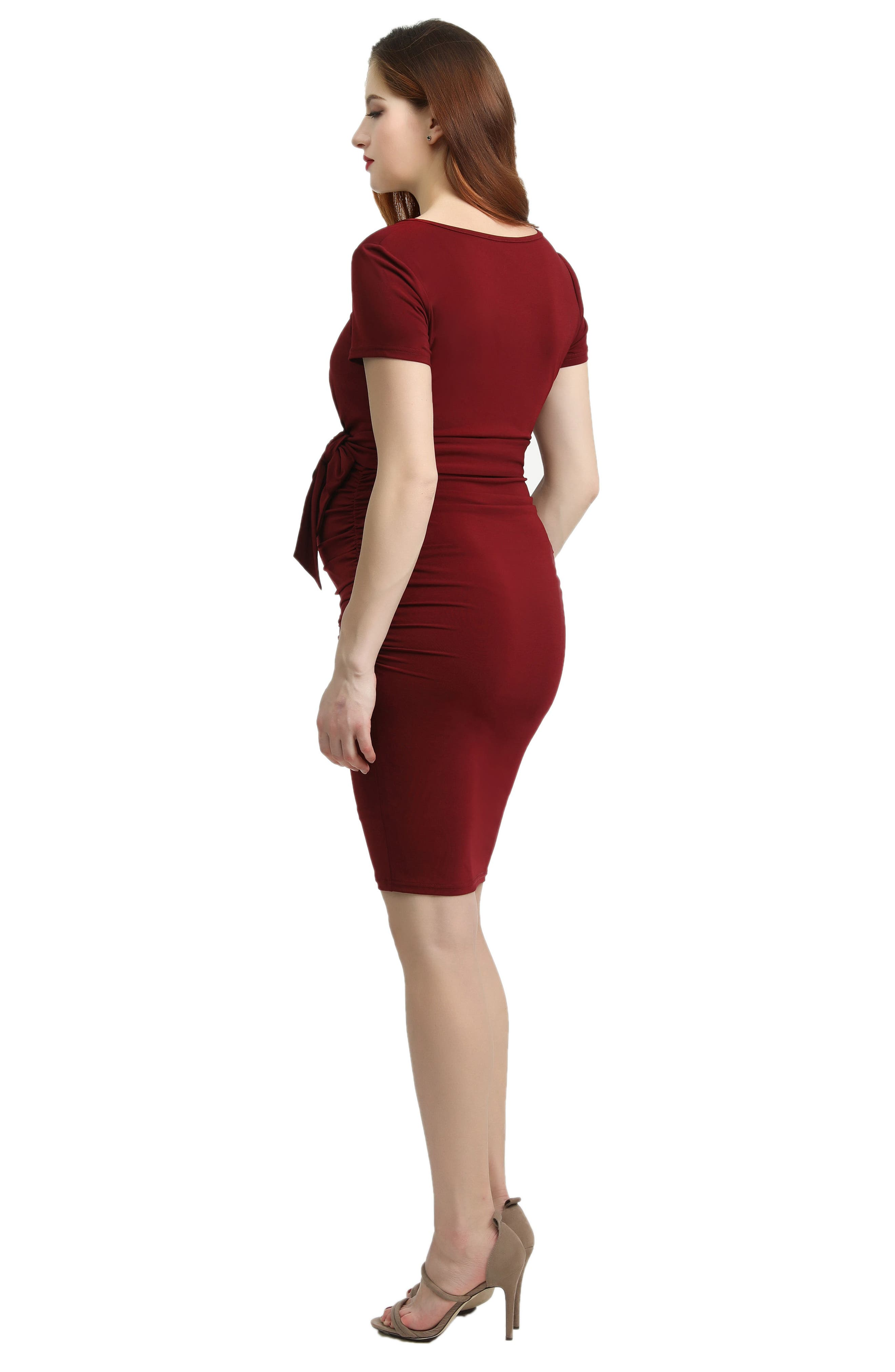 Lana Ruched Maternity Dress,                             Alternate thumbnail 3, color,                             WINE