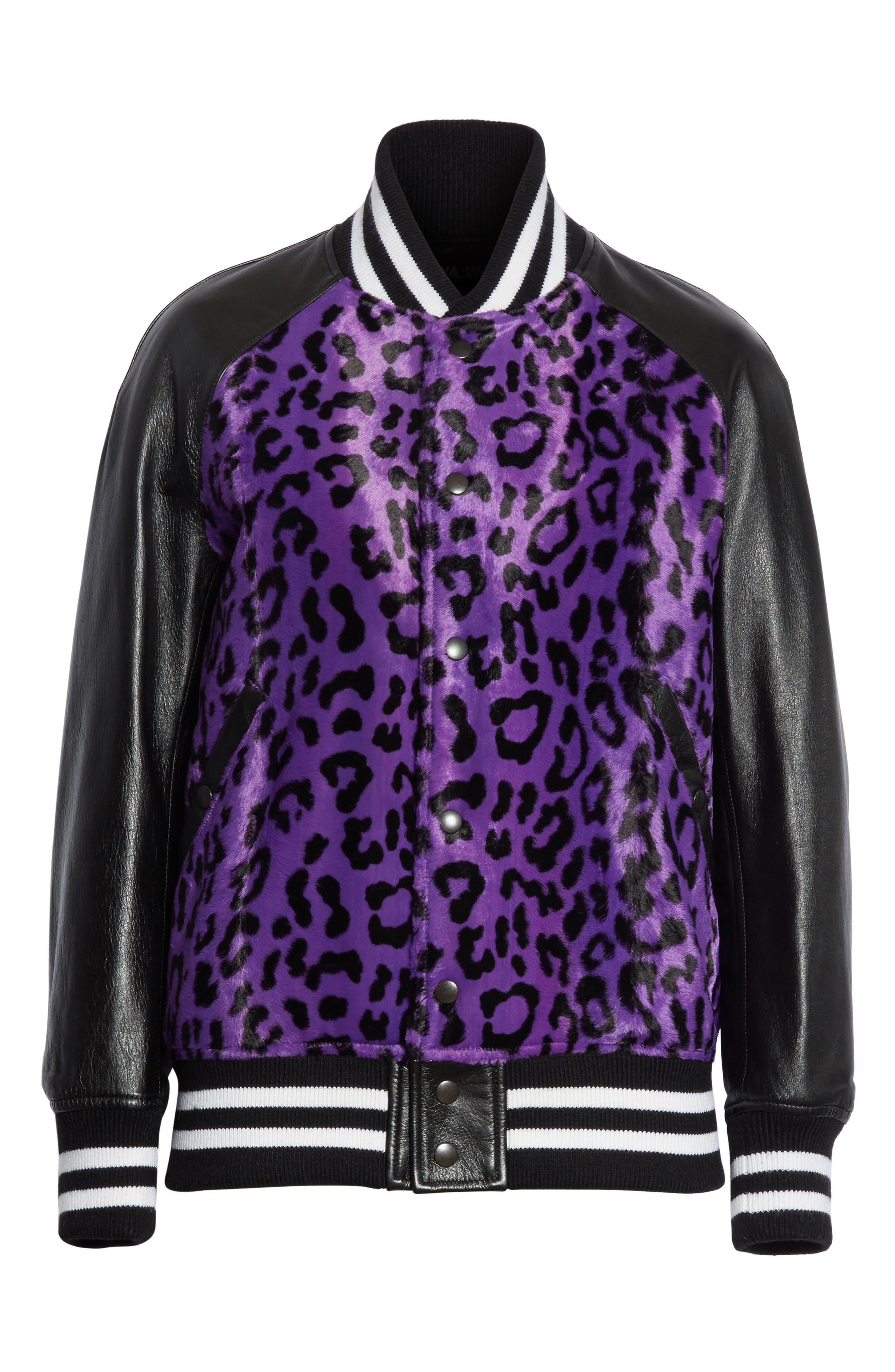 Cheetah Print Faux Fur & Leather Track Jacket,                             Alternate thumbnail 5, color,                             540