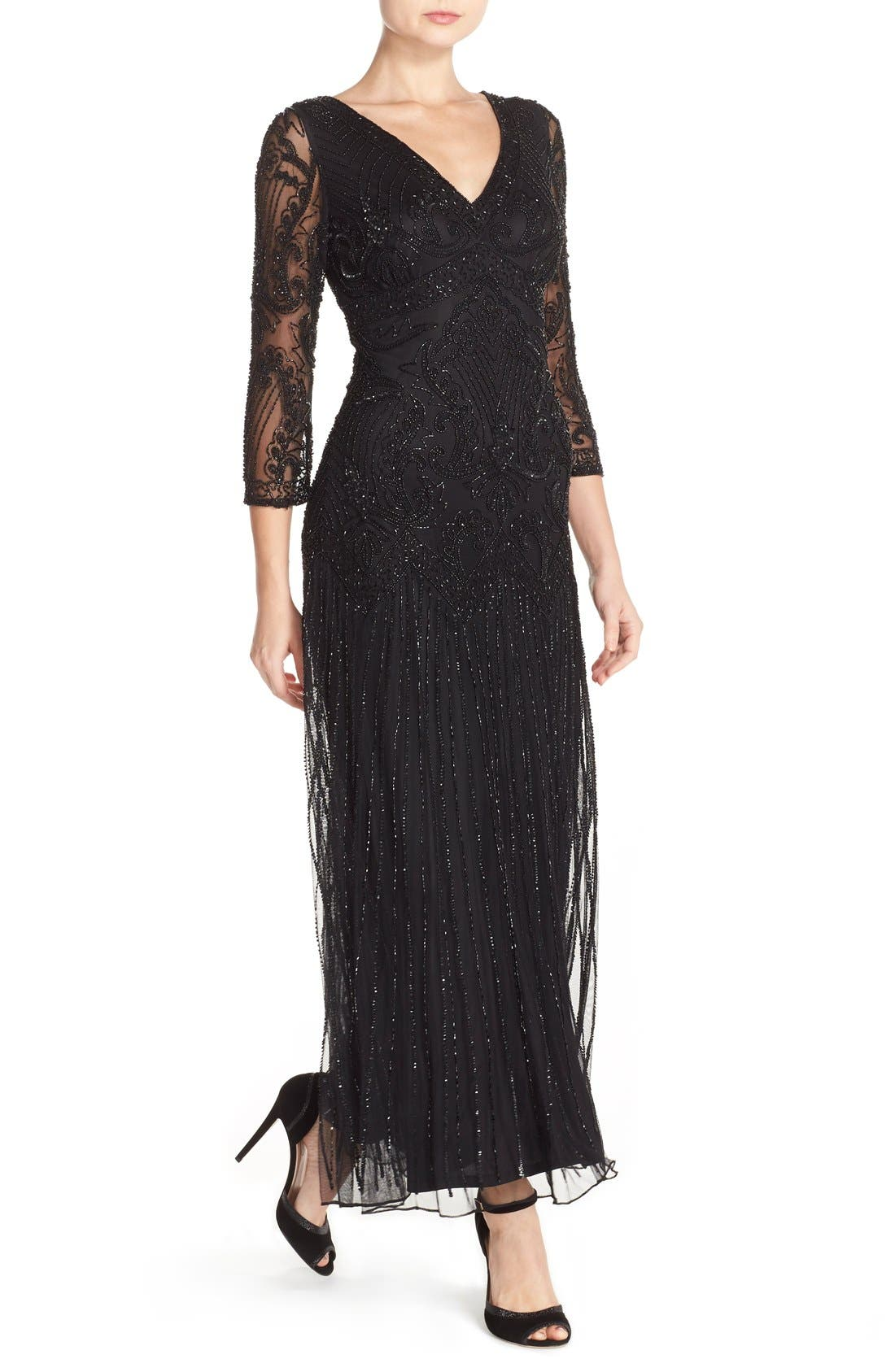 Embellished Mesh Gown,                             Alternate thumbnail 5, color,                             001