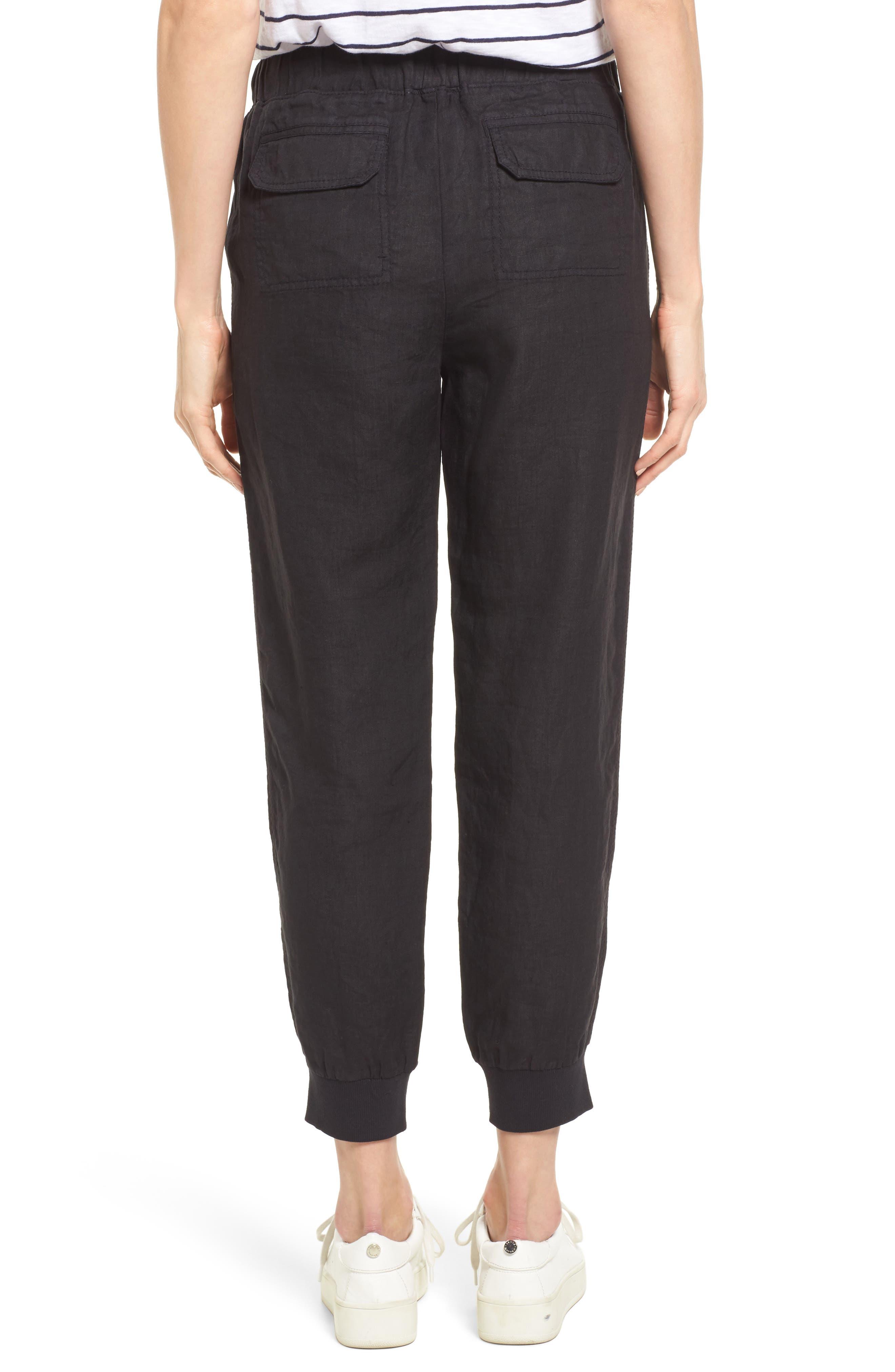 Linen Jogger Pants,                             Alternate thumbnail 2, color,                             BLACK