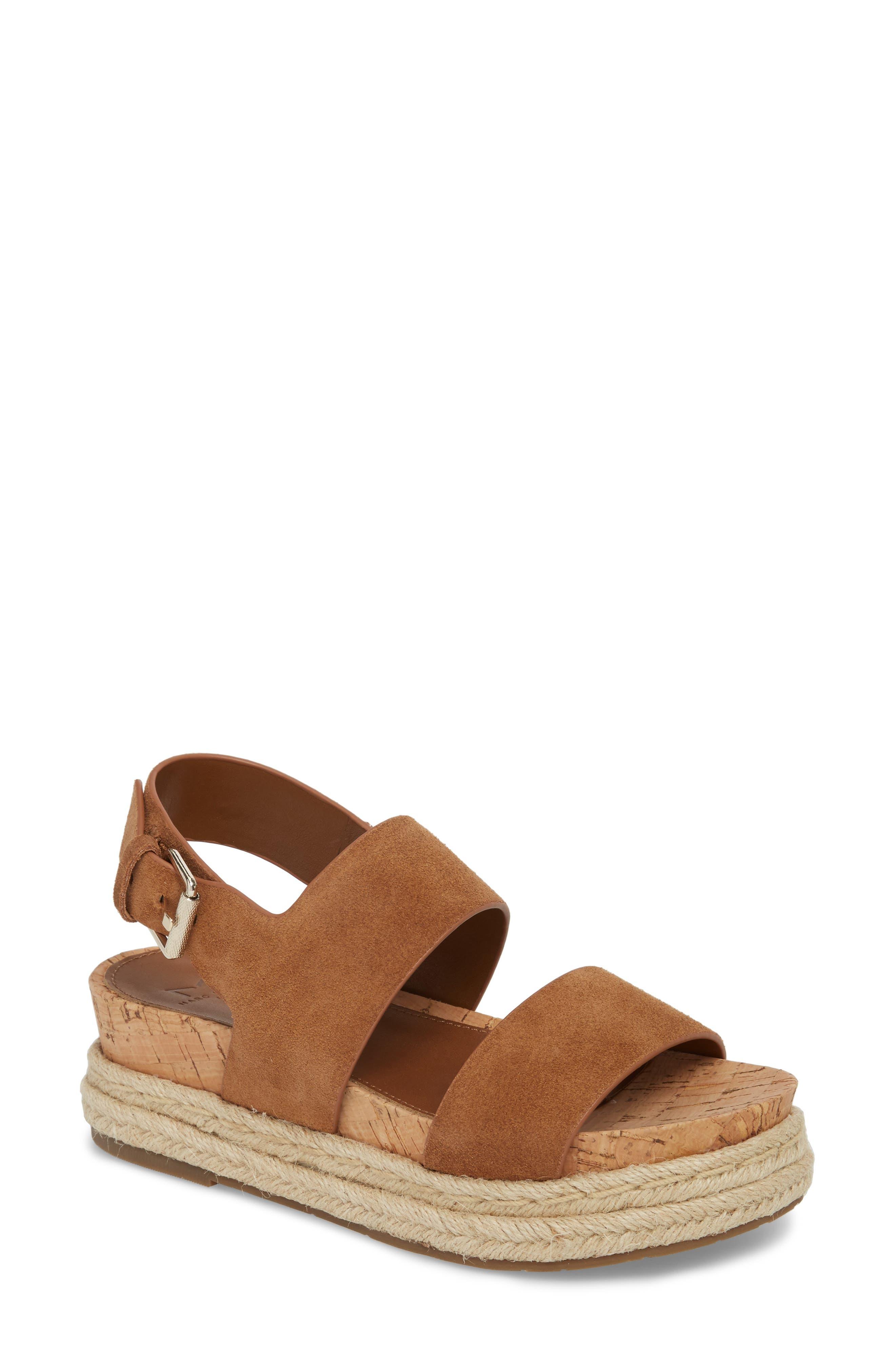 Oria Espadrille Platform Sandal,                             Main thumbnail 1, color,                             COGNAC SUEDE