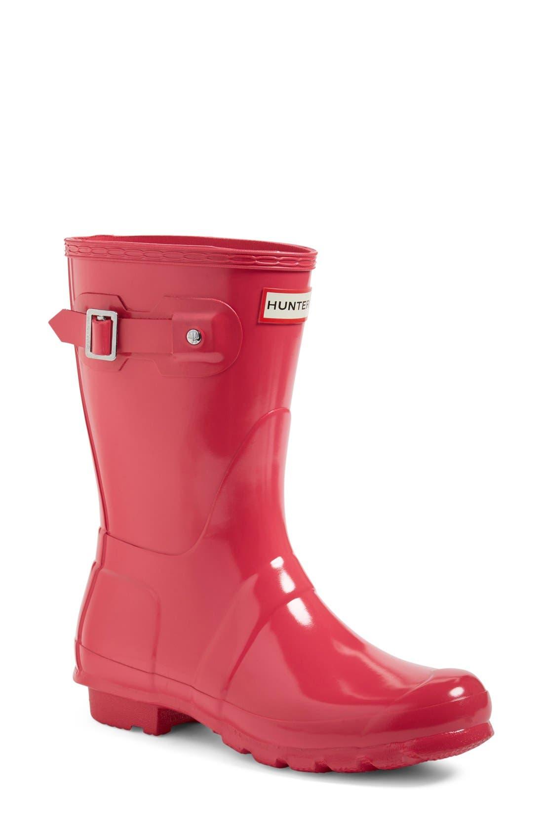 Original Short Gloss Rain Boot,                             Main thumbnail 1, color,                             BRIGHT PINK