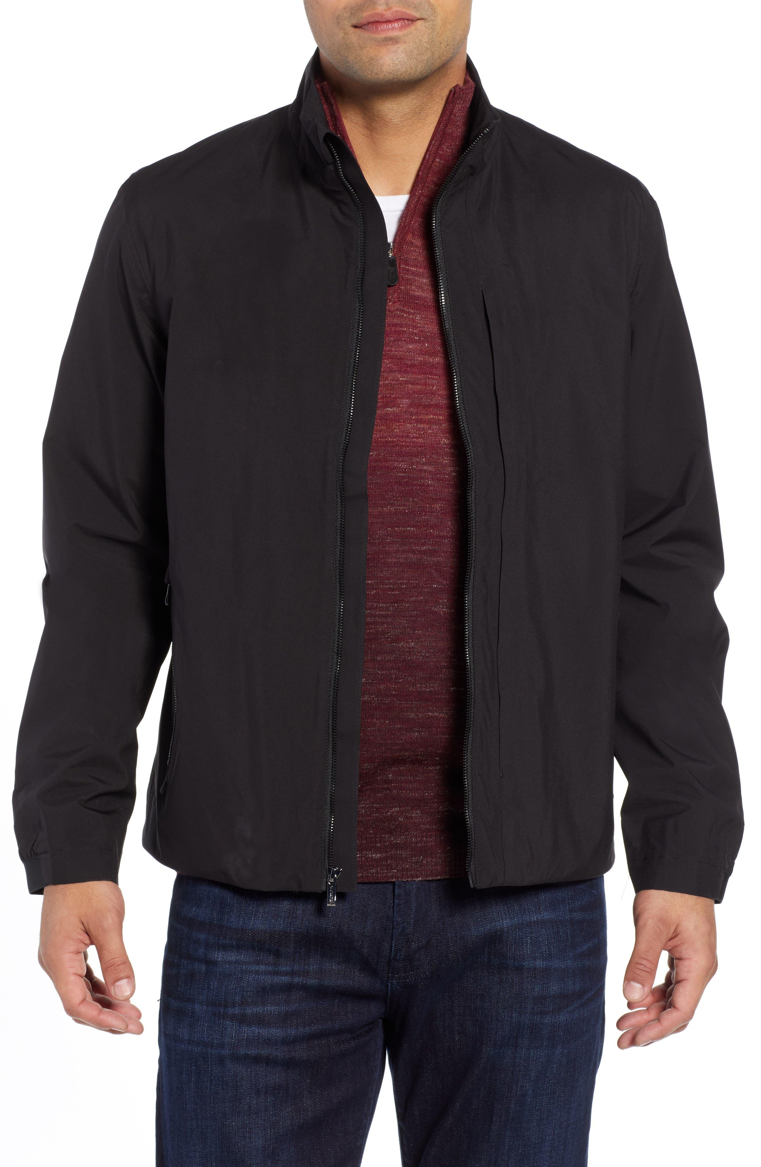 Mock Neck Jacket,                         Main,                         color, BLACK