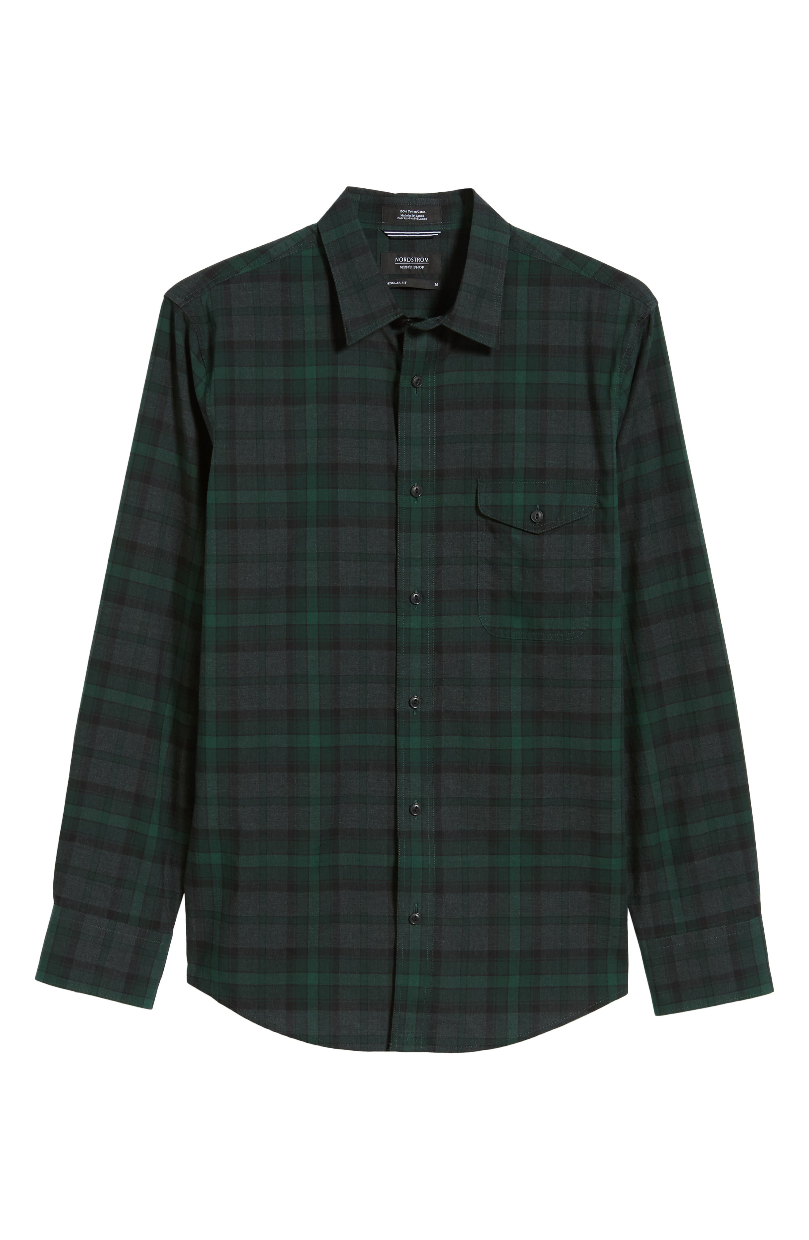 Regular Fit Plaid Flannel Sport Shirt,                             Alternate thumbnail 6, color,                             GREEN FOREST GREY PLAID