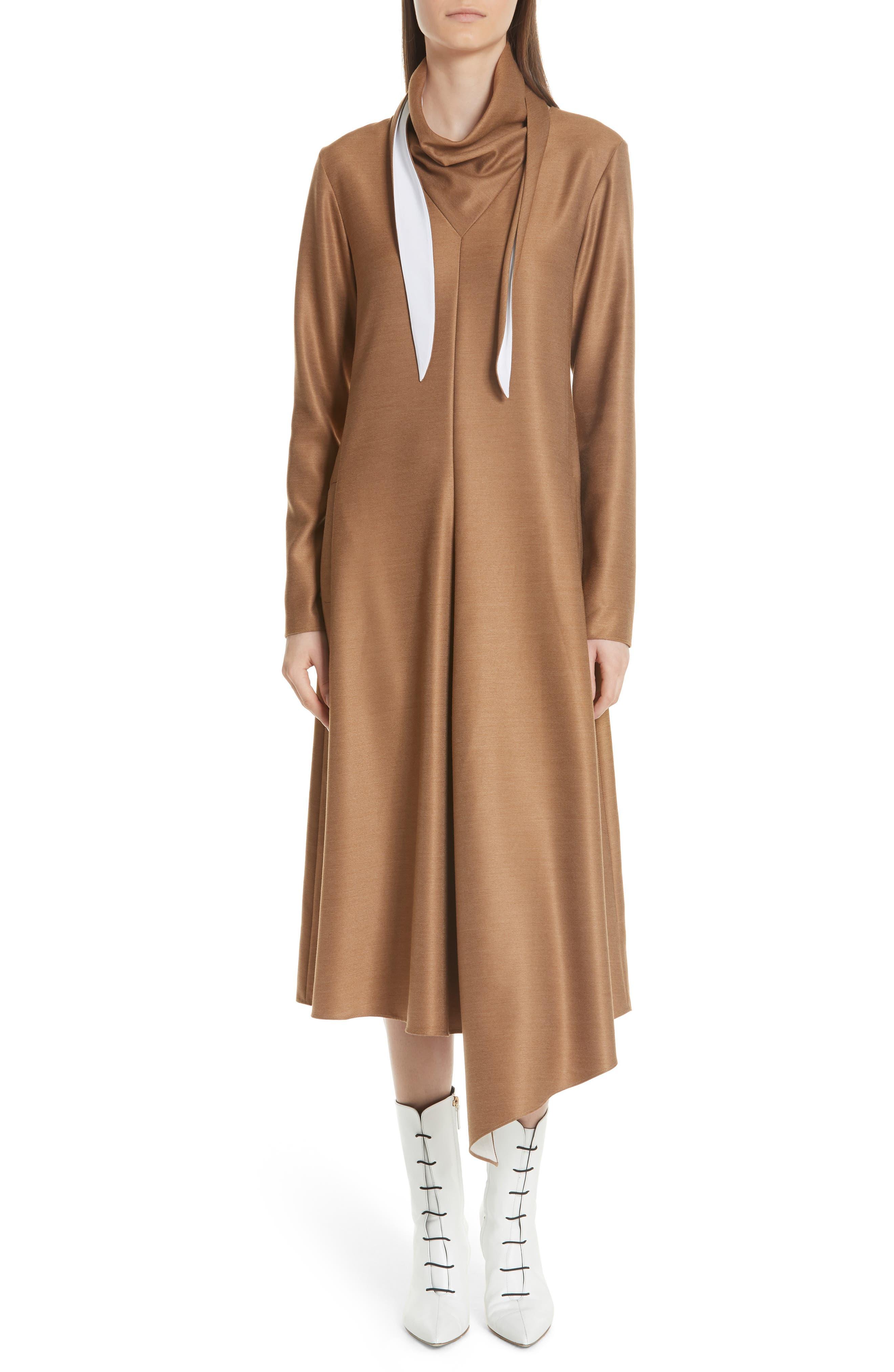 Tibi Bandana Neck Dress, Brown