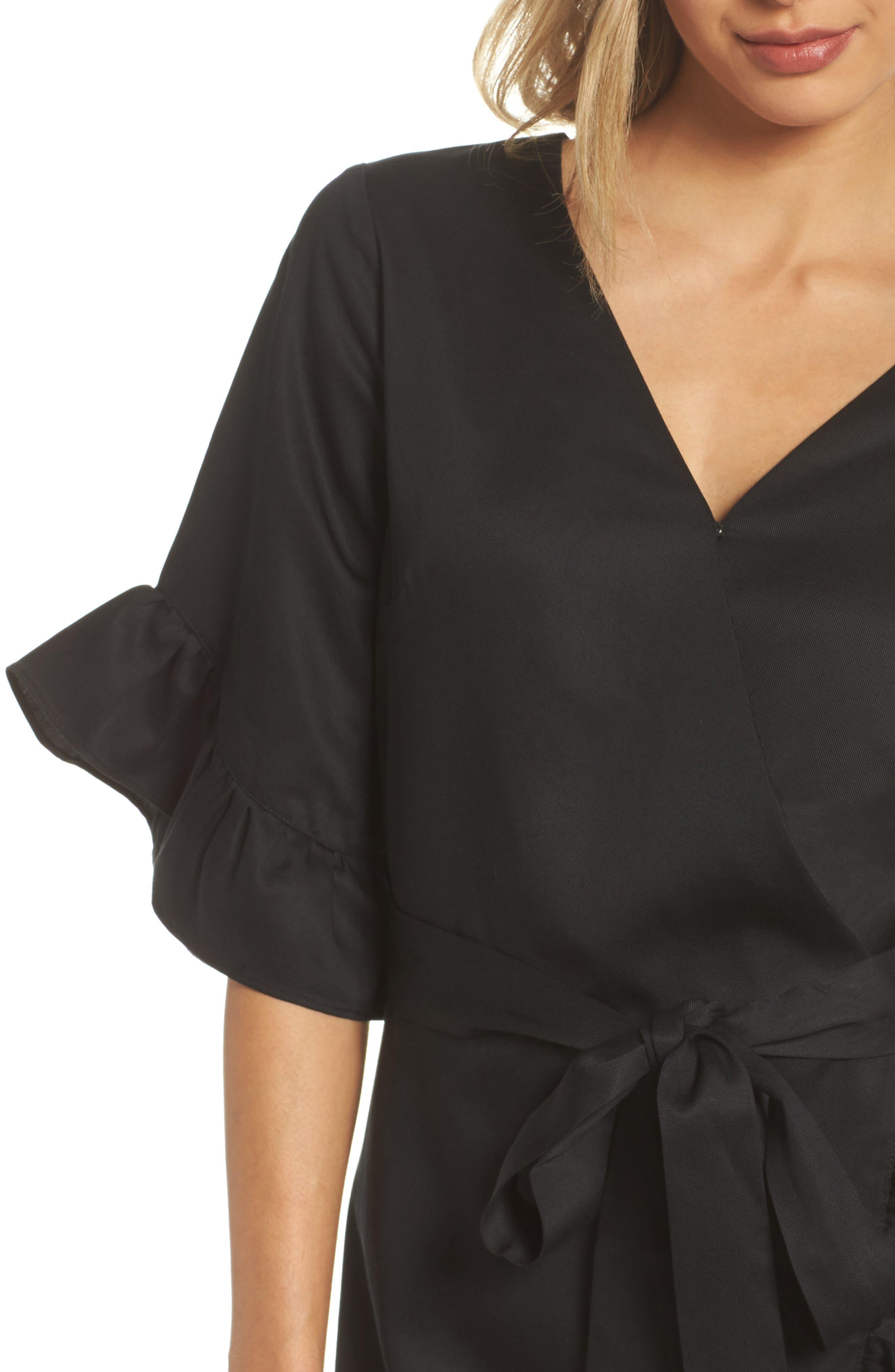 Ruffle Wrap Dress,                             Alternate thumbnail 4, color,                             001