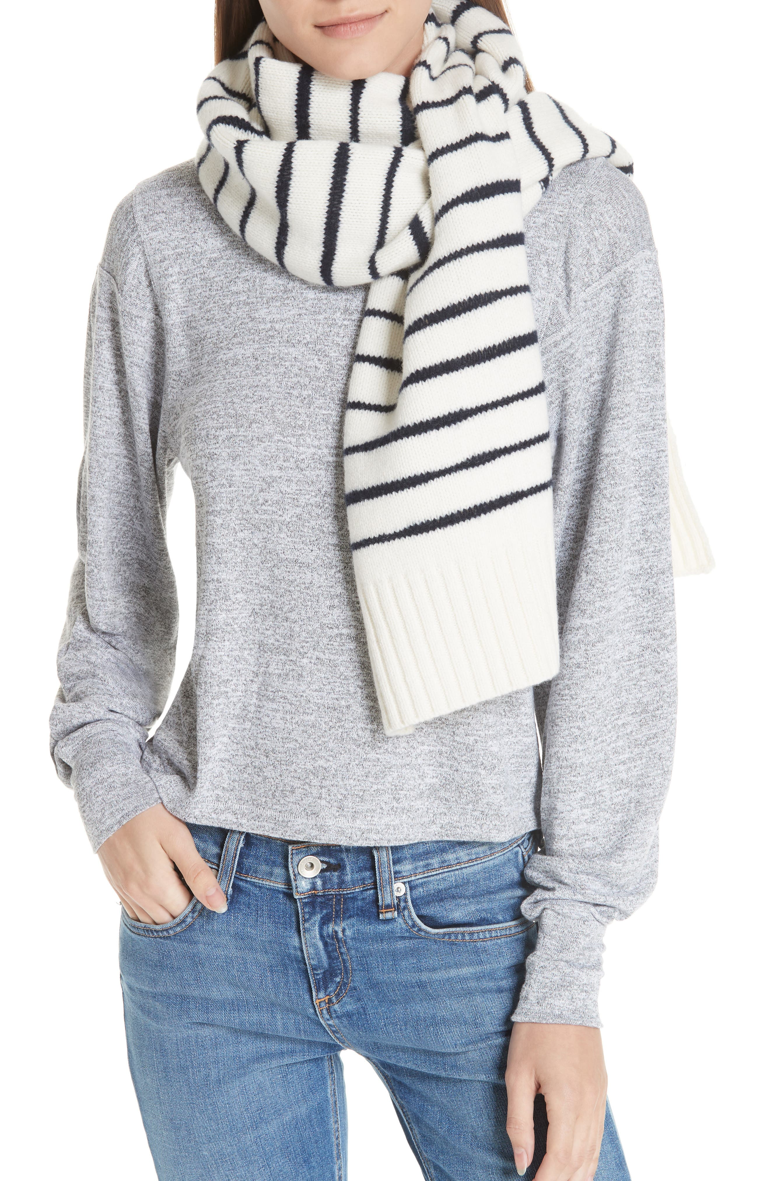 Sam Lambswool Scarf,                         Main,                         color, IVORY/ NAVY