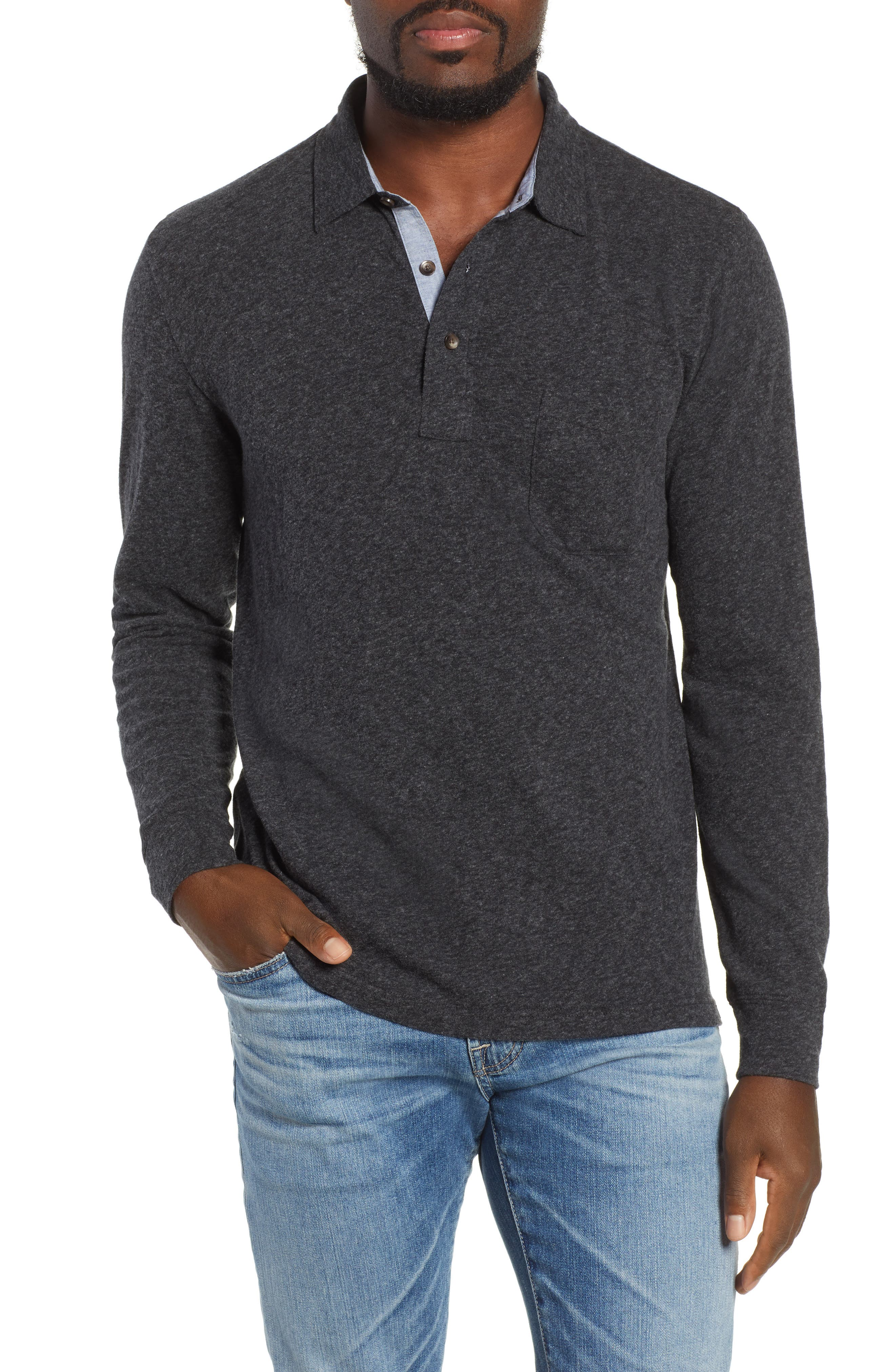 Luxe Heather Long Sleeve Polo,                             Main thumbnail 1, color,                             WASHED BLACK