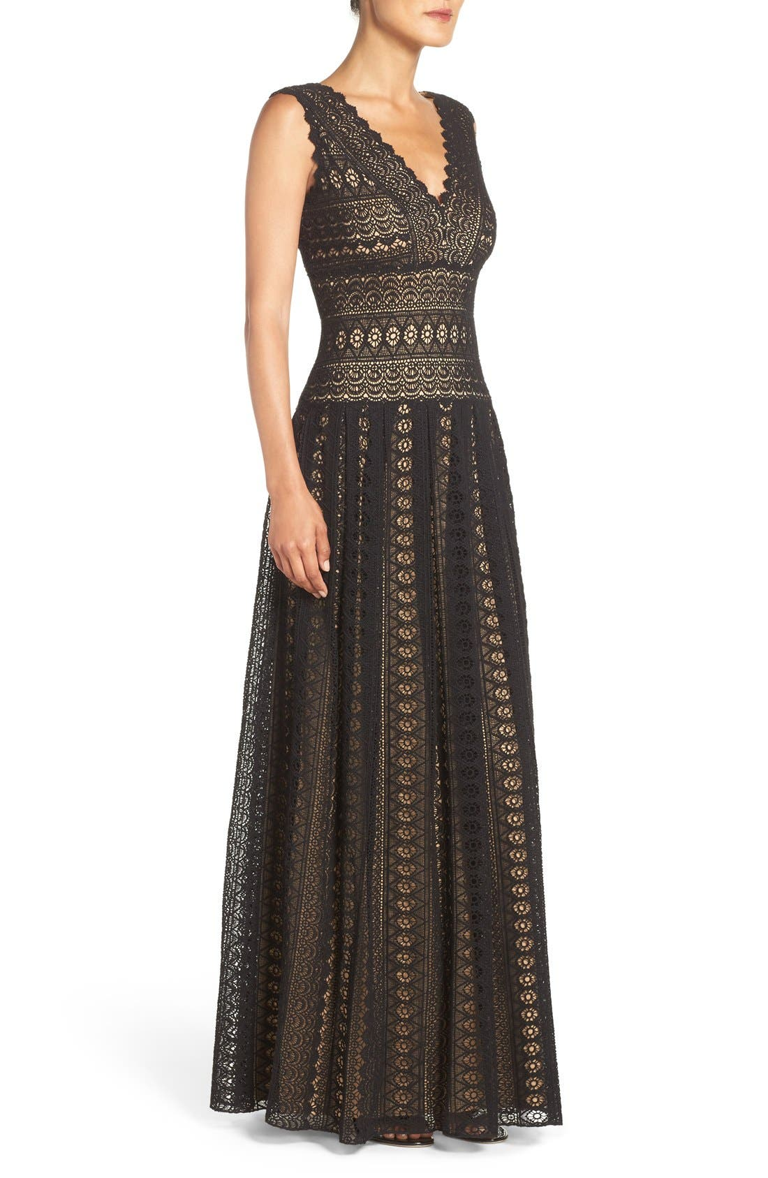 Crochet Lace Fit & Flare Gown,                             Alternate thumbnail 4, color,                             004