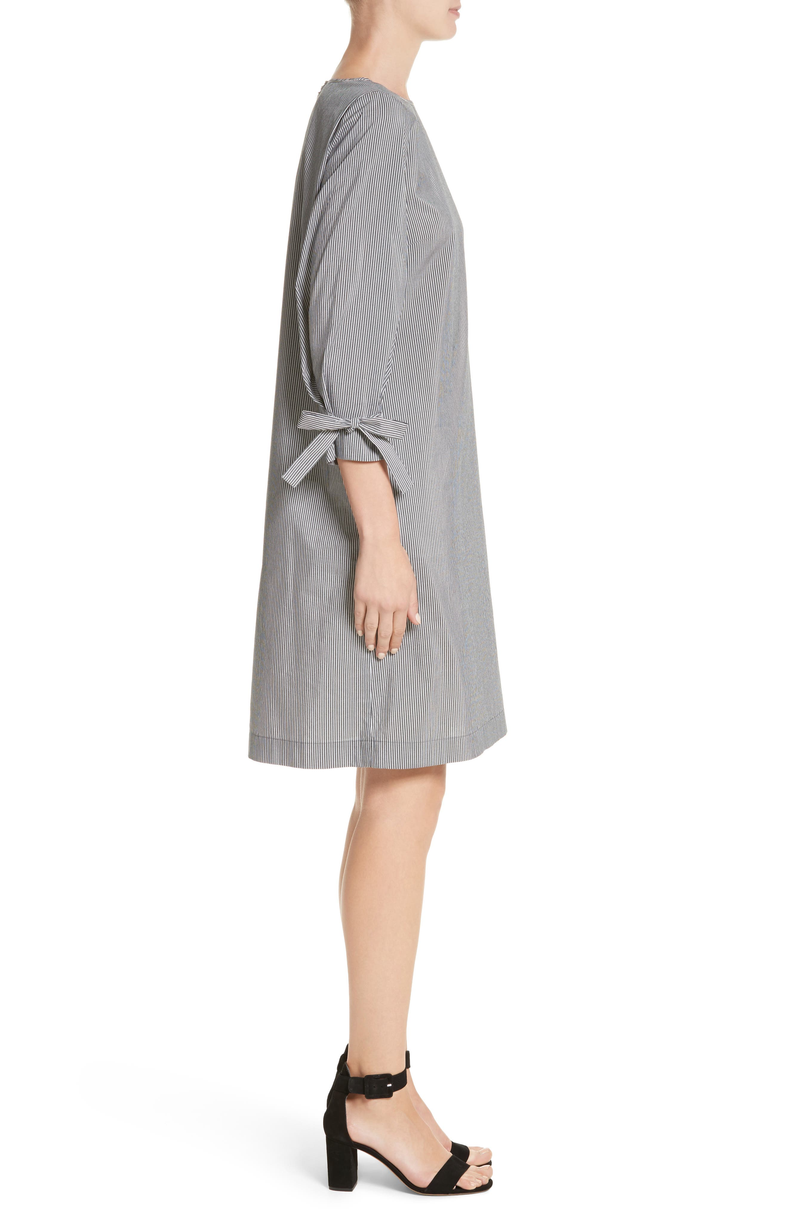 Paige Stripe Cotton & Silk Shift Dress,                             Alternate thumbnail 3, color,                             083