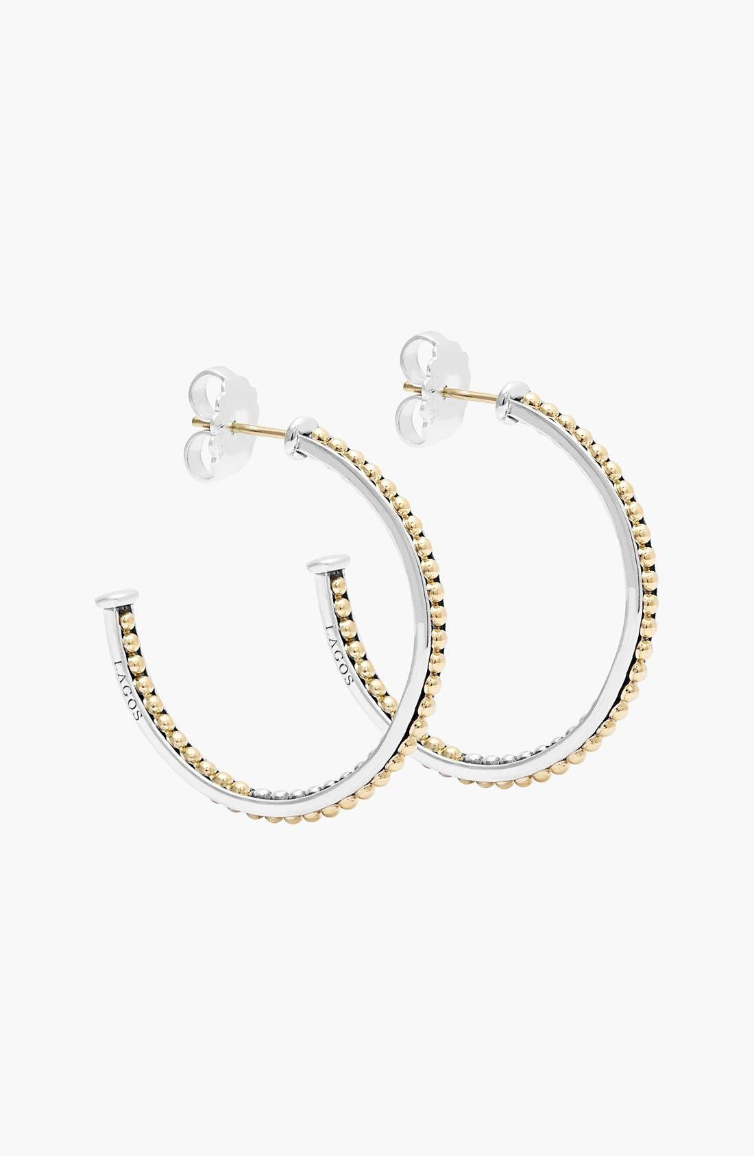 'Enso' Caviar Hoop Earrings,                             Alternate thumbnail 4, color,                             SILVER/ GOLD