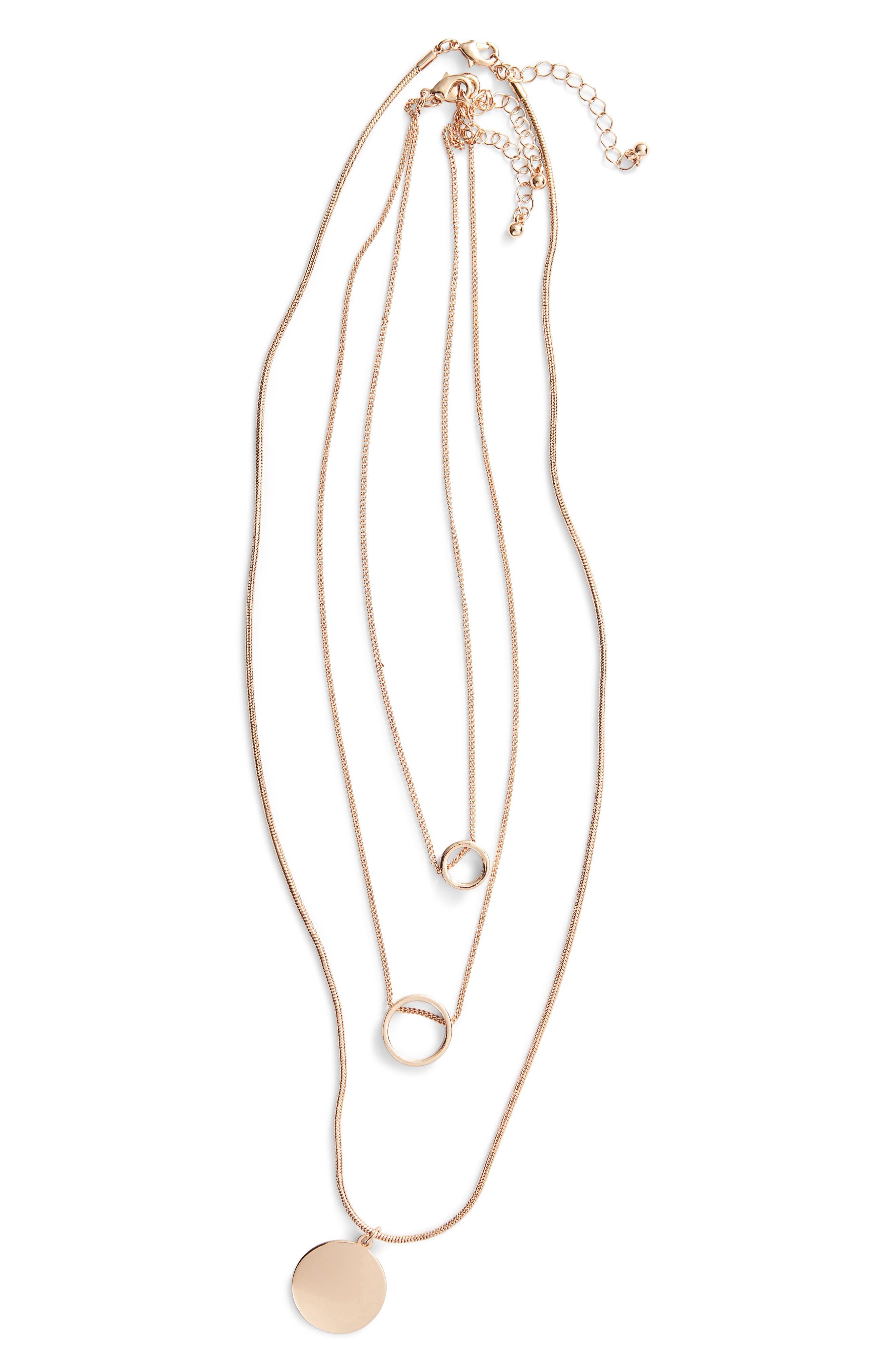 3-Pack Circle Pendant Necklaces,                             Main thumbnail 1, color,                             710