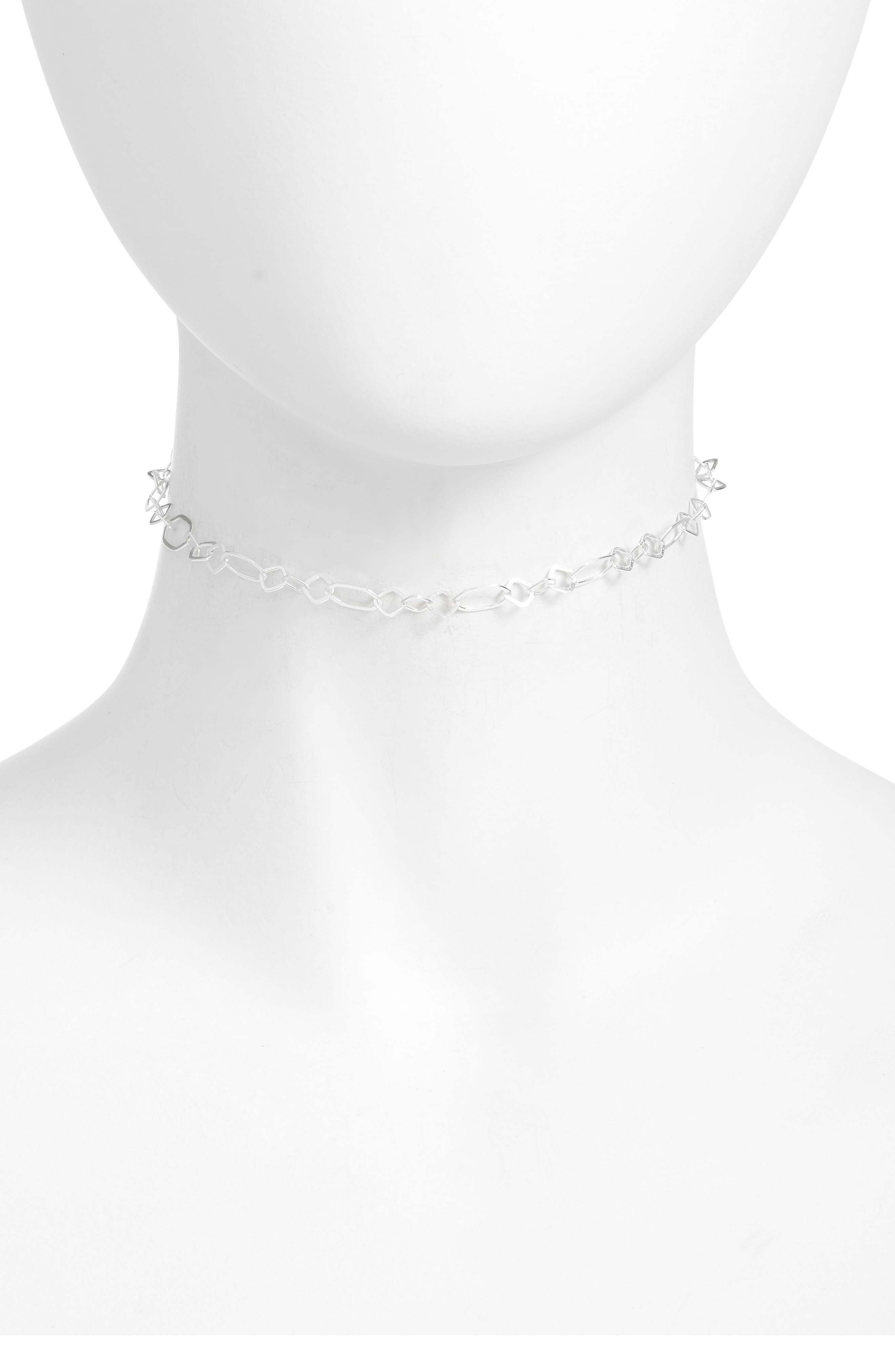 Oval Link Choker Necklace,                         Main,                         color, SILVER