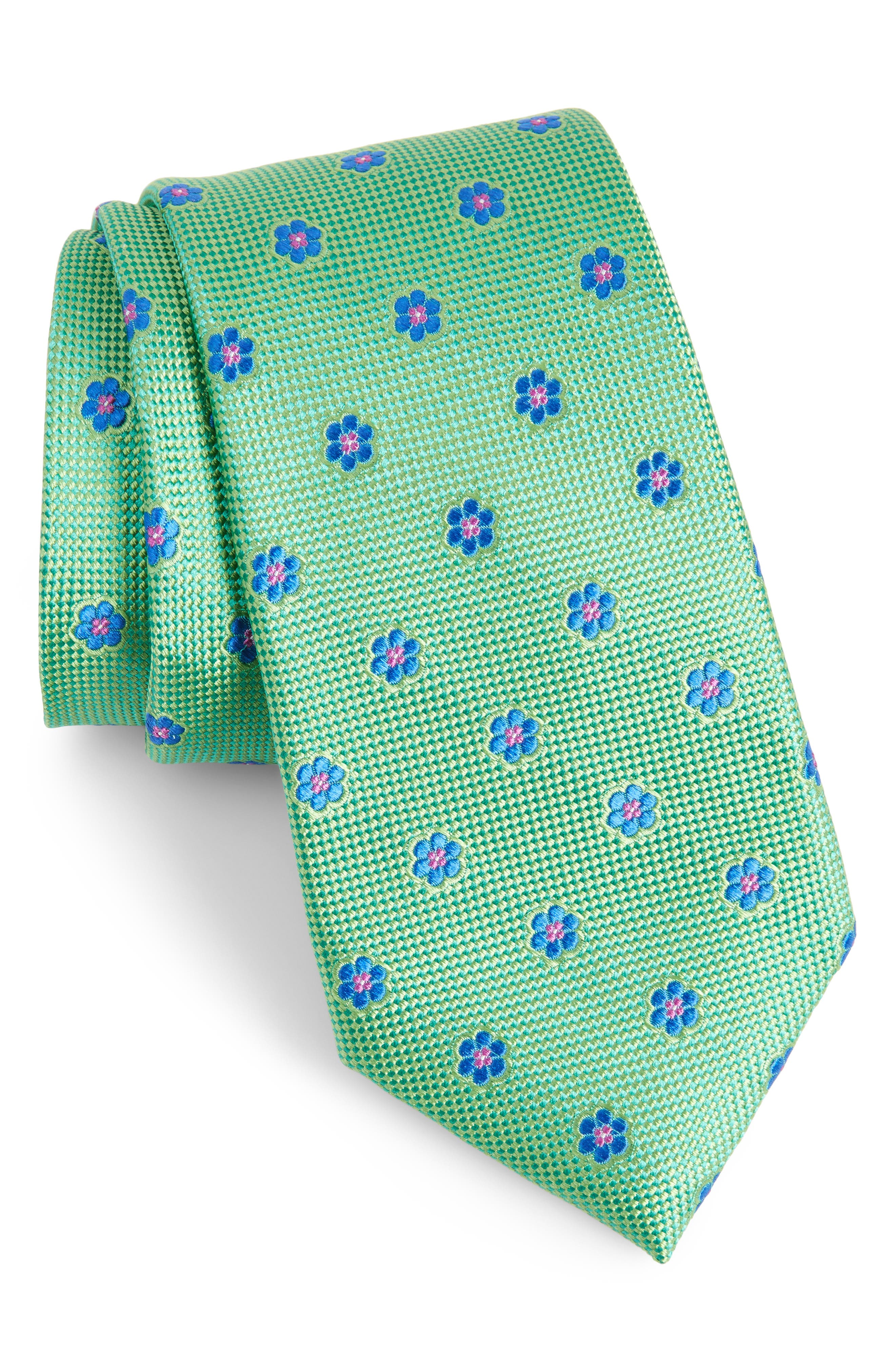 Calibrate Cloisters Neat Silk Tie,                         Main,                         color, GREEN